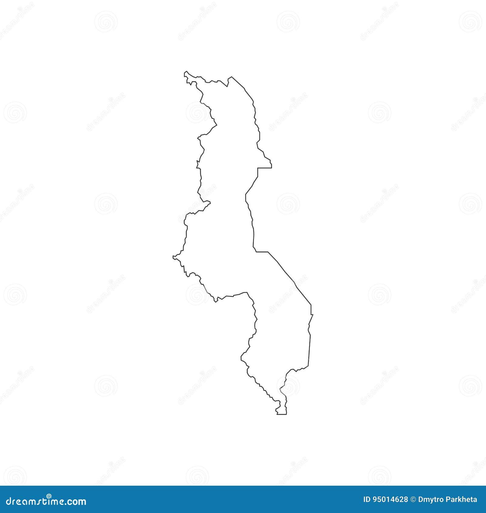 Malawi Map Outline Stock Vector Illustration Of Border - Malawi blank map