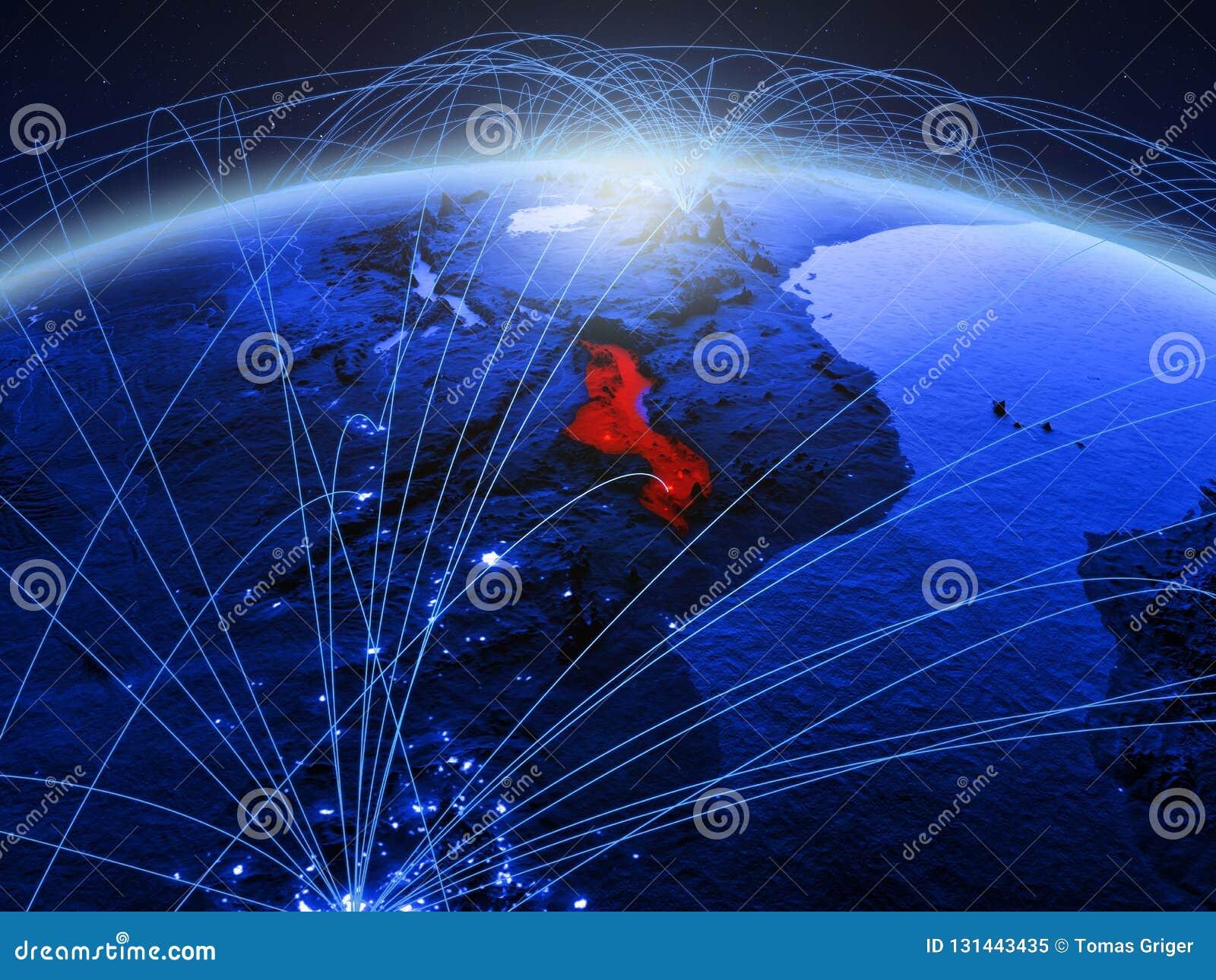 Malawi op blauwe digitale aarde met internationaal netwerk die mededeling, reis en verbindingen vertegenwoordigen 3D Illustratie