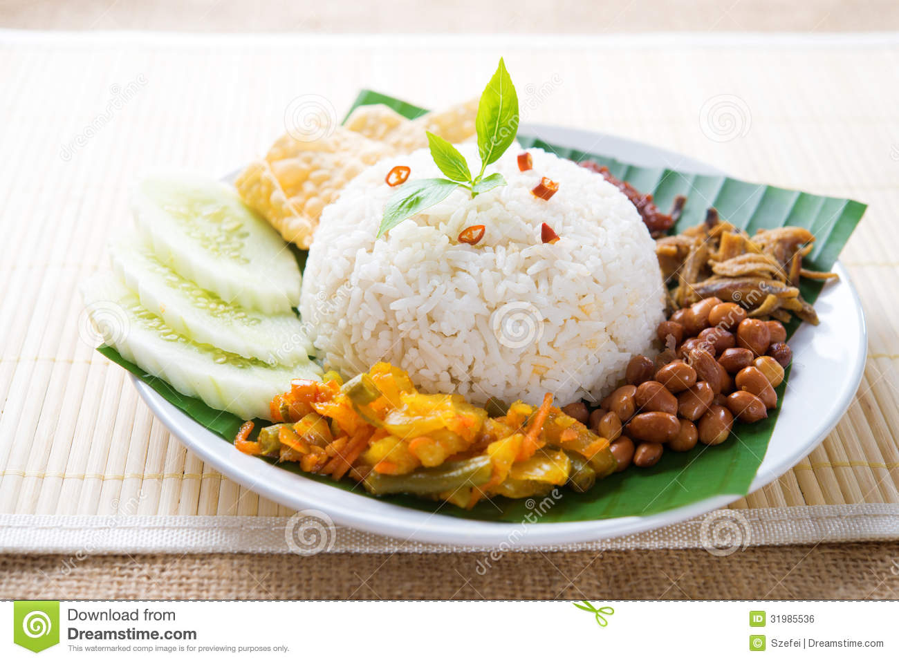 Nasi lemak, malay traditional rice meal.