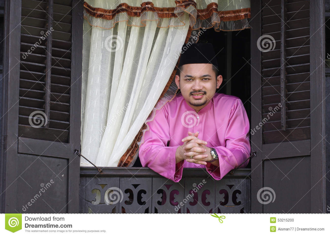 Malay Muslim Man Open A Traditional Window Stock Photo Image Of