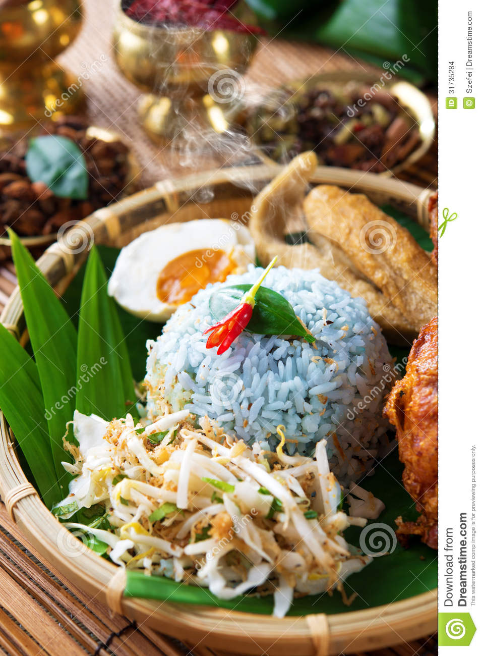 Malay rice dish nasi kerabu stock images image 31735284 for Authentic malaysian cuisine