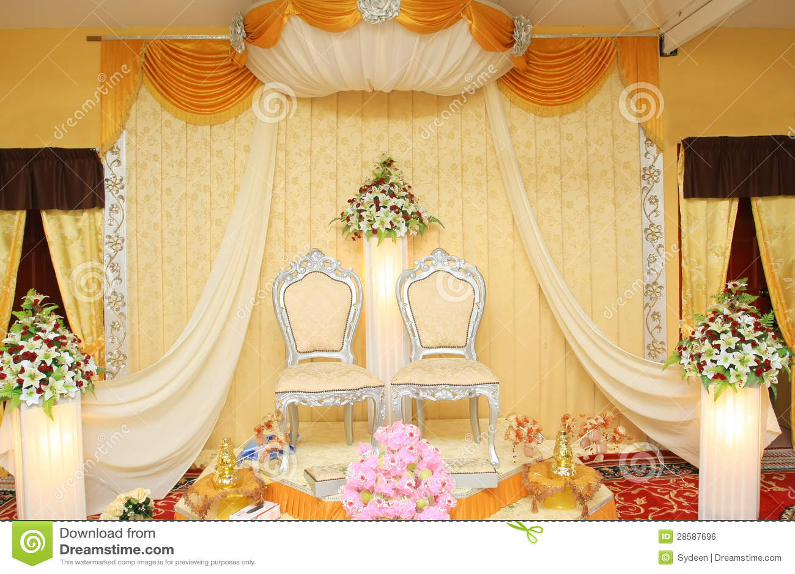 Malay Wedding Stage Stock Photo Image Of Light Flowers