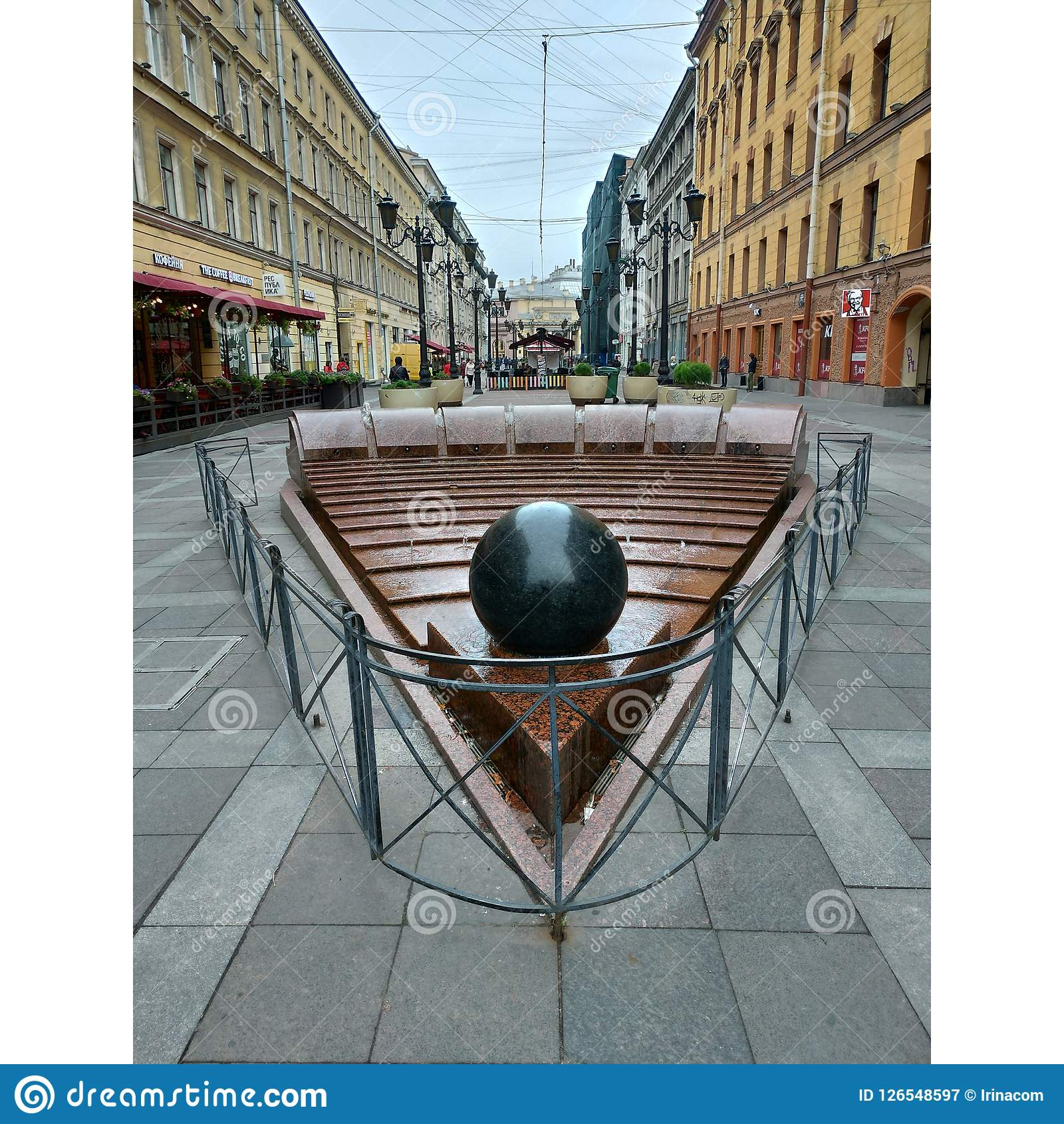 Malaya Sadovaya street, St. Petersburg. Fountain in the form of a triangle Royalty Free Stock Photography