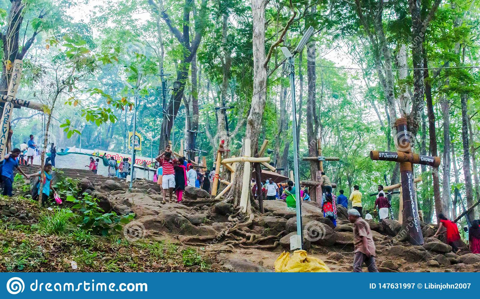 Peoples climping malayattor hill for reaching to St.Thomas Syro-Malabar church Malayattoor