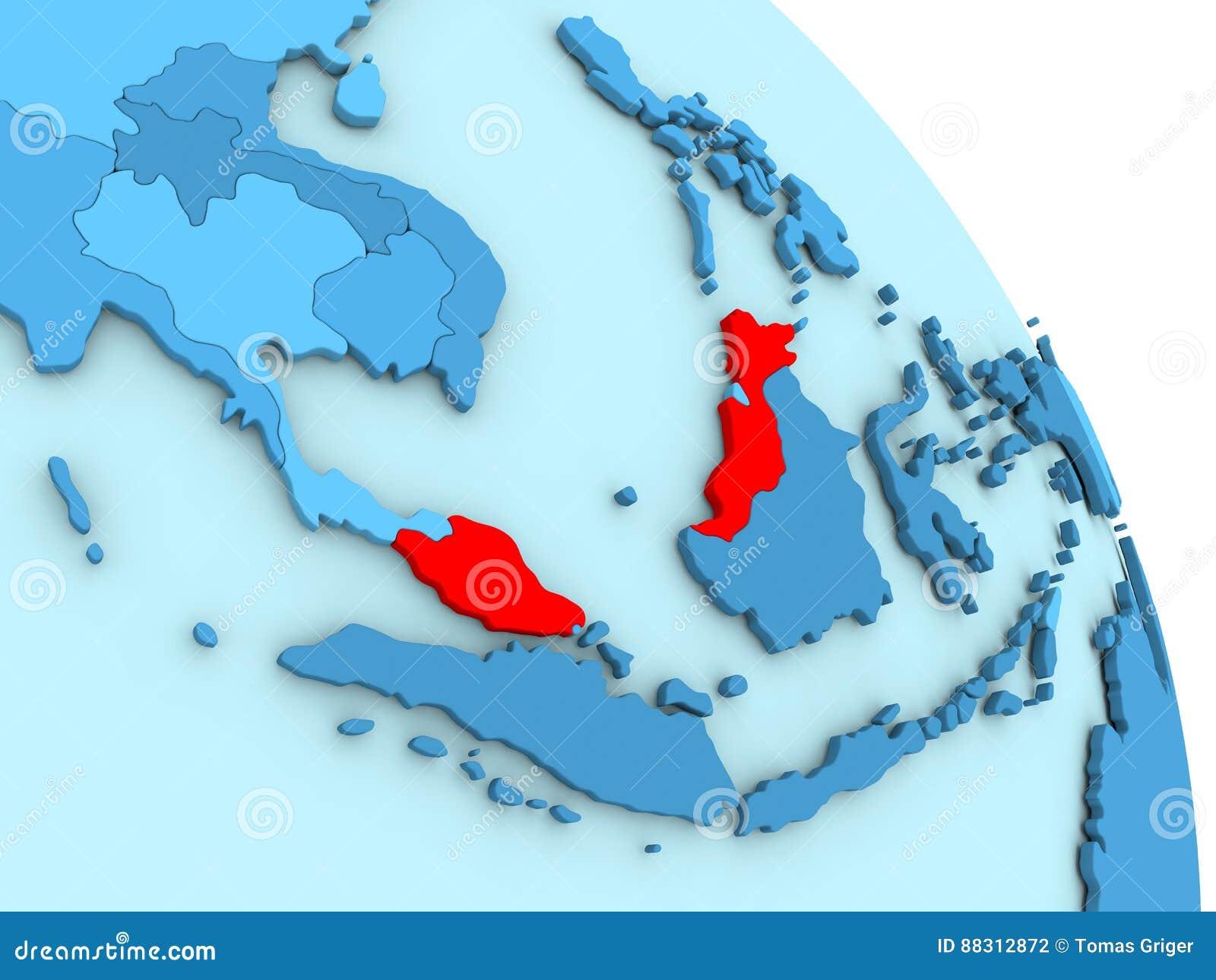 Malaysia On Blue Political Globe Stock Illustration Illustration