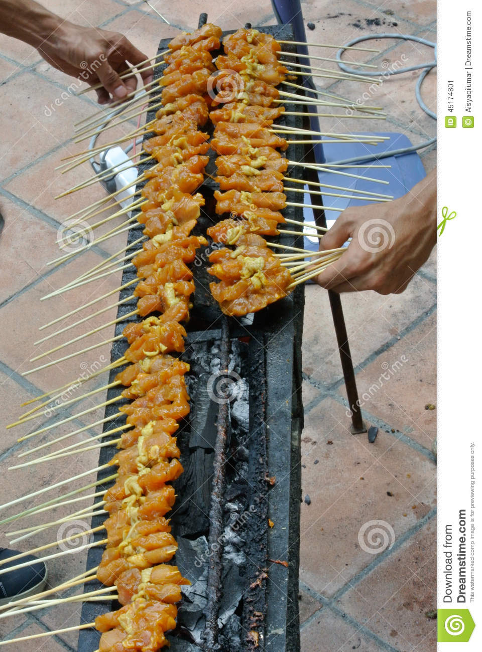 Malaysia Chicken Satay Cooking On A Hot Charcoal Grill Stock Photo ...