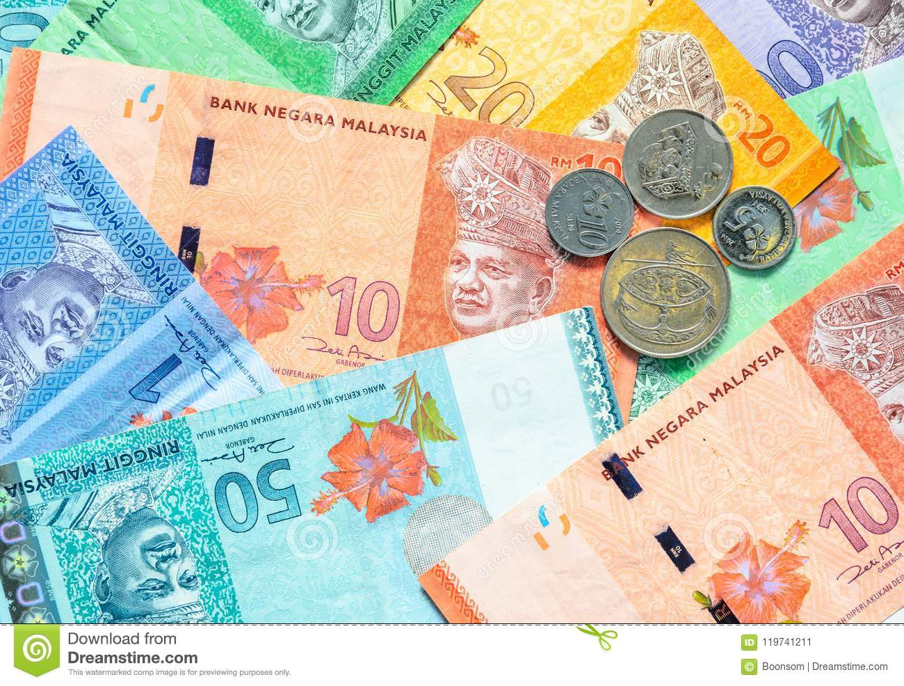 Malaysian Ringgit Banknotes And Coins Background  Stock Image
