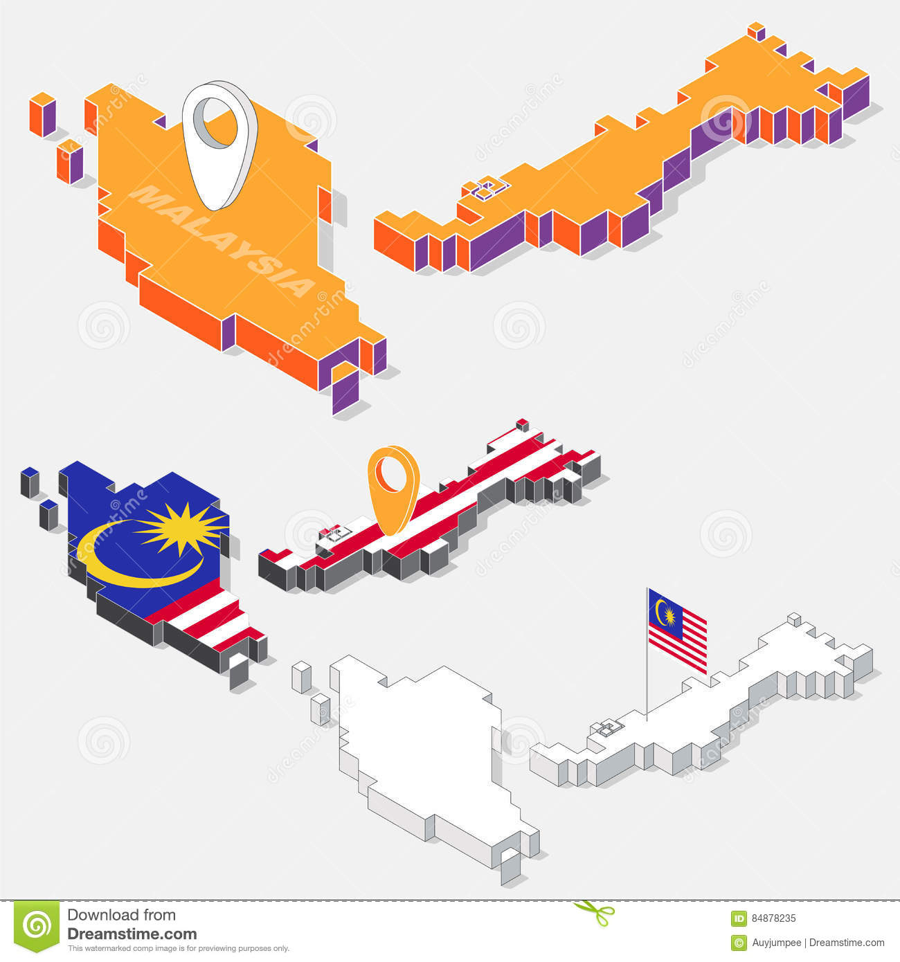 Malaysia Flag On Map Element With 3D Isometric Shape Isolated On