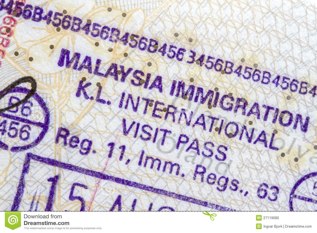 Malaysia Immigration Stamp Stock Photo Image Of Business