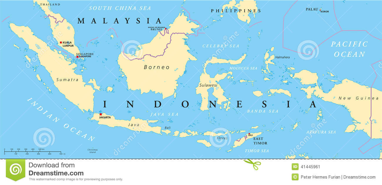 indonesia mapa Malaysia And Indonesia Political Map Stock Vector   Illustration  indonesia mapa