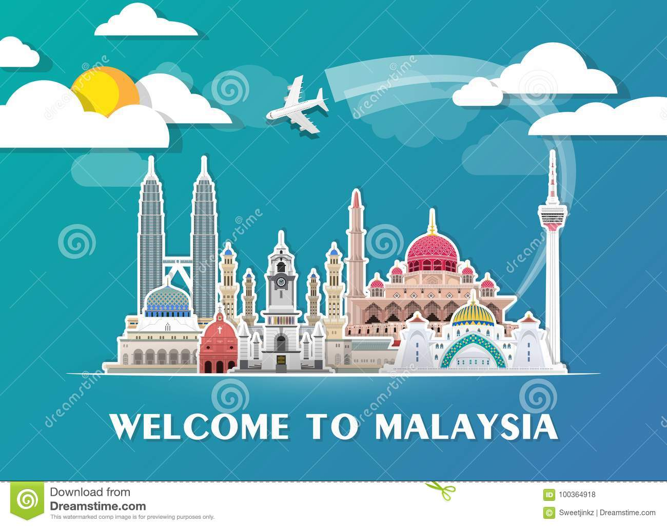 Malaysia Landmark Global Travel And Journey paper background. Vector Design Template.used for your advertisement, book, banner, te
