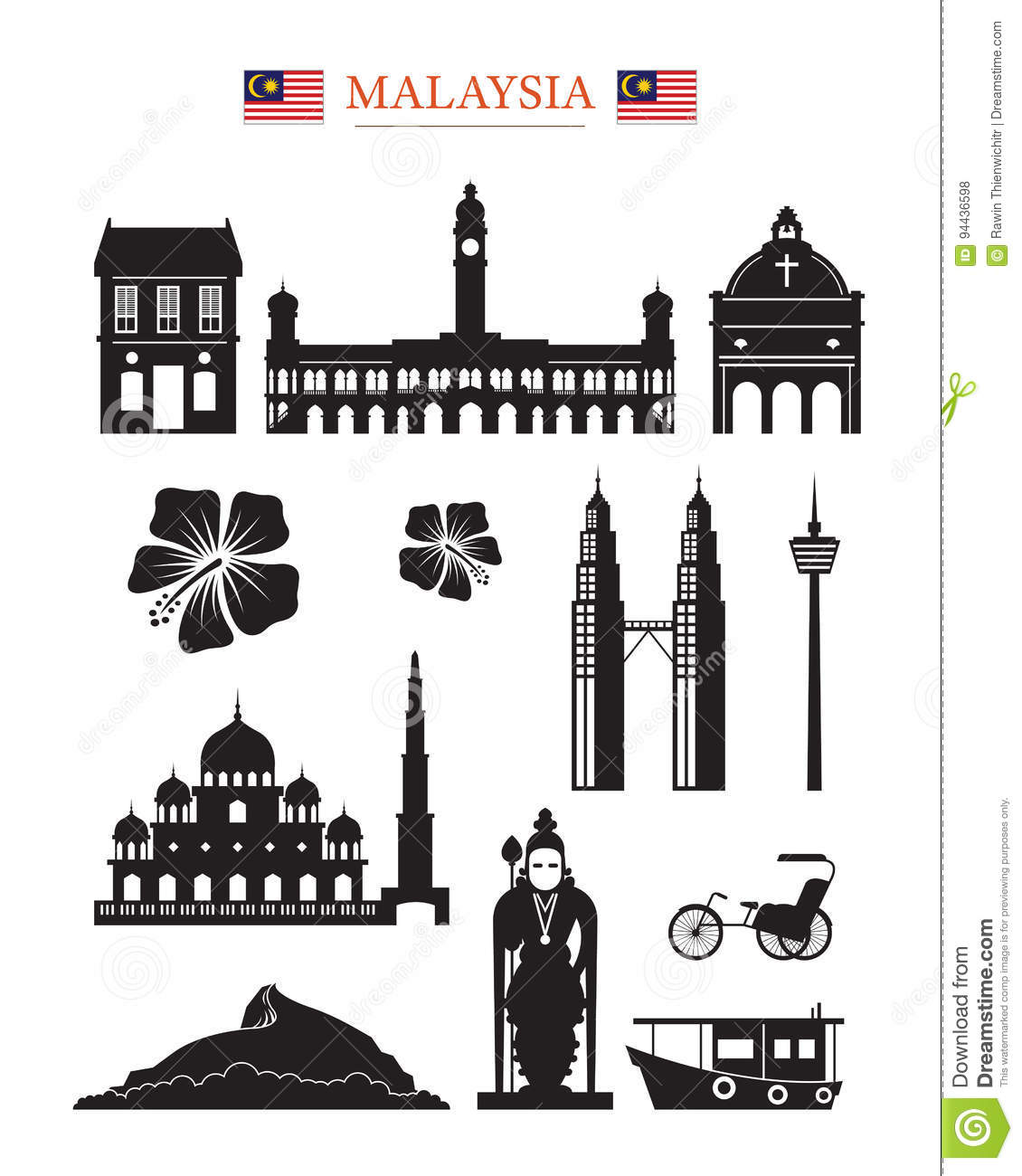 Malaysia landmarks architecture building object set stock for Architecture design company in malaysia