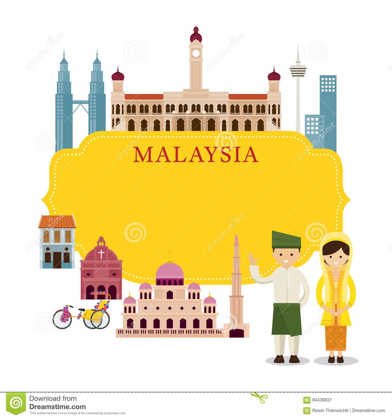 Malaysian People: Trishaw Cartoons, Illustrations & Vector Stock Images