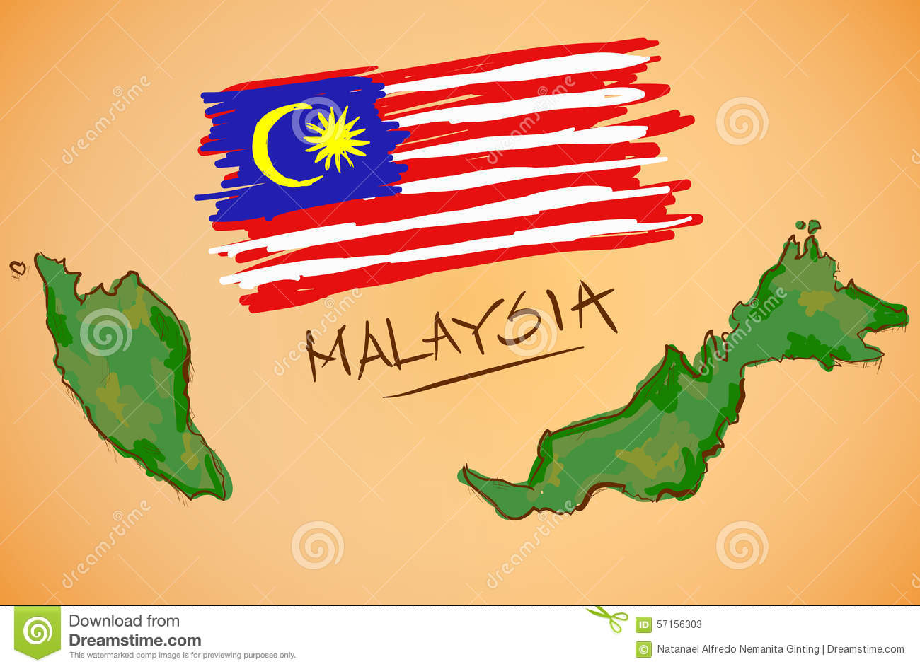 Malaysia Map And National Flag Vector Stock Vector Image