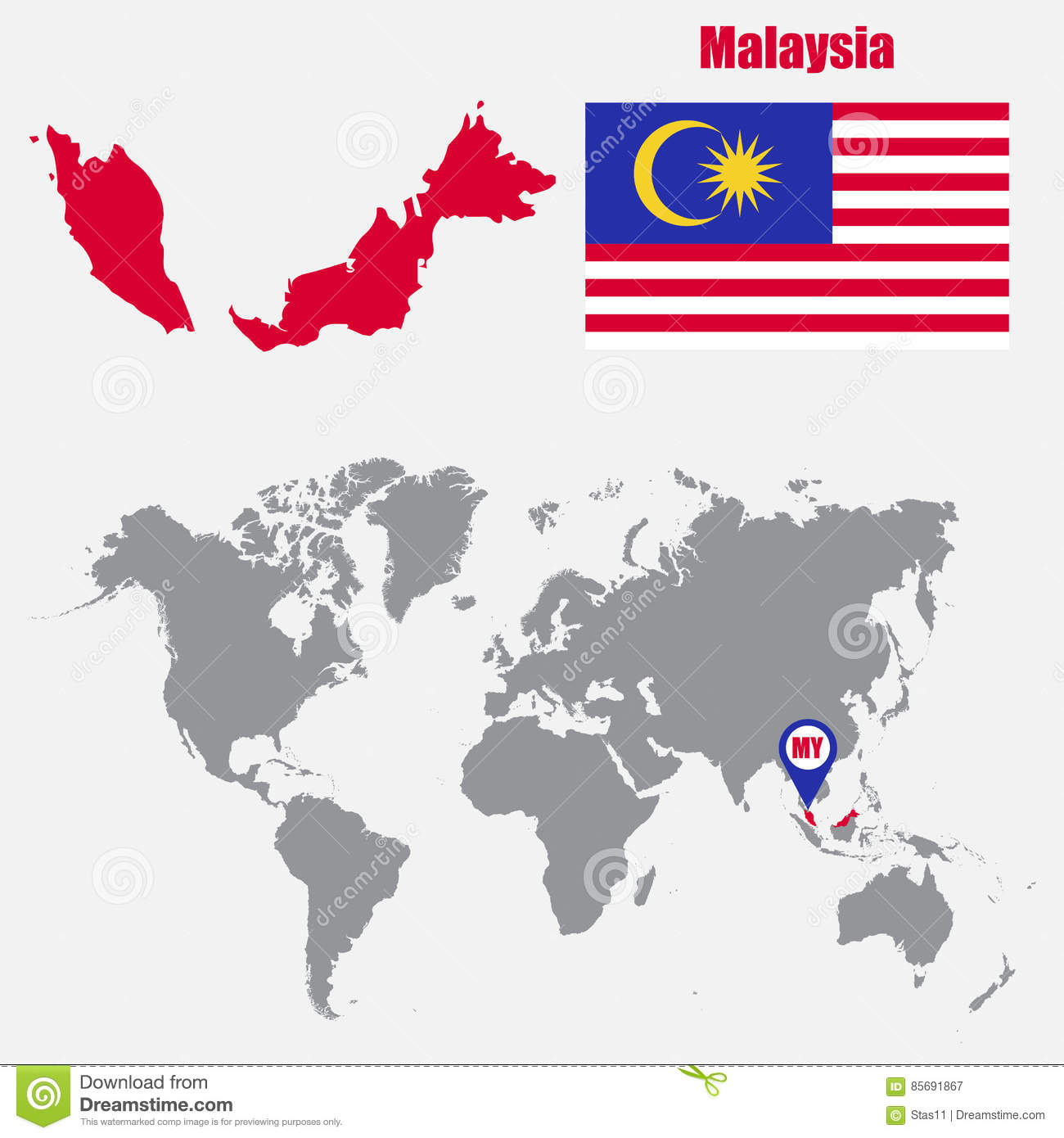 Malaysia On The World Map.Malaysia Map On A World Map With Flag And Map Pointer Vector