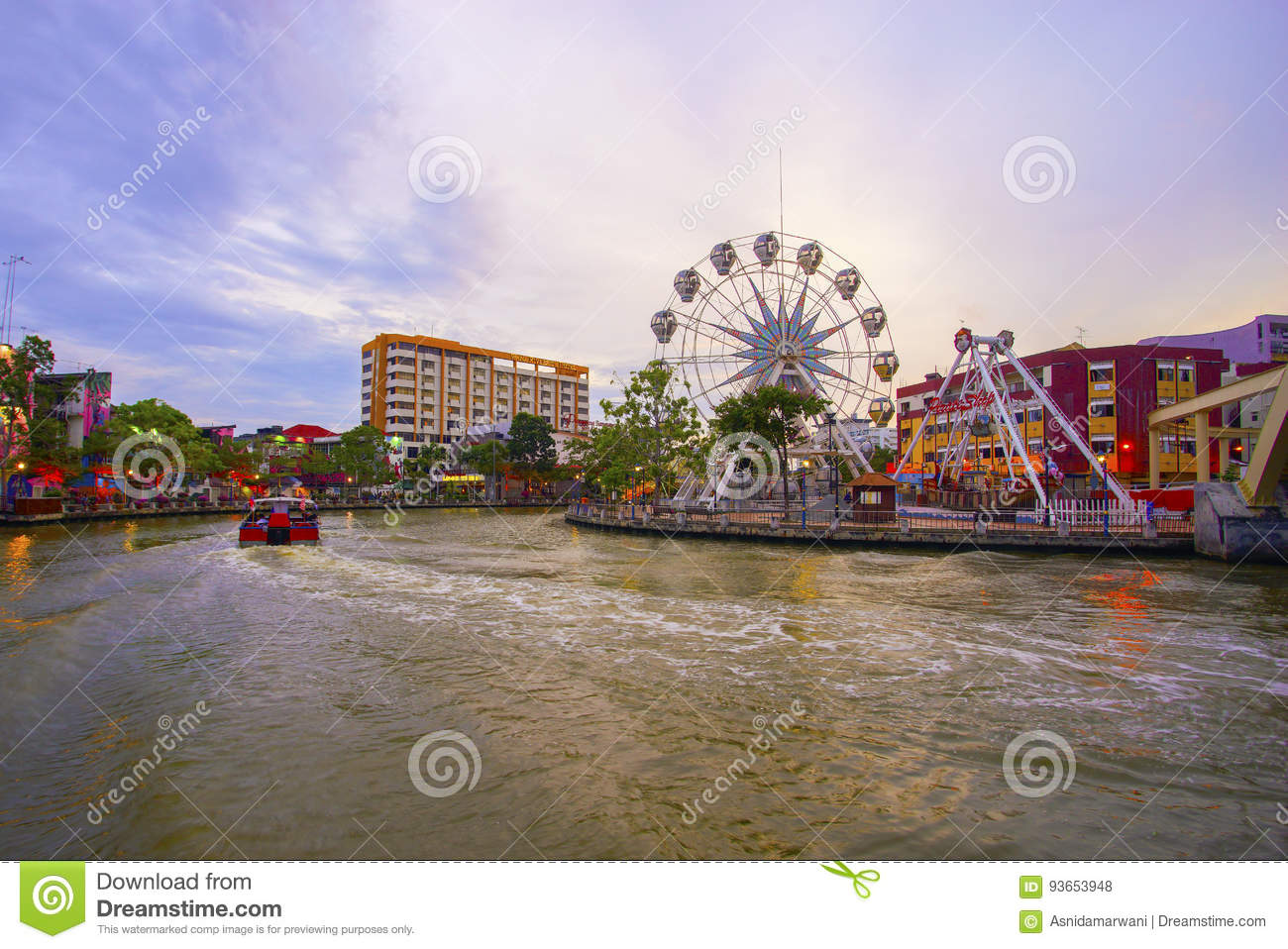 MALAYSIA - MARCH 23: Malacca eye on the banks of Melaka river on MARCH 23, 2017 Malaysia. Malacca has been listed as a UNESCO