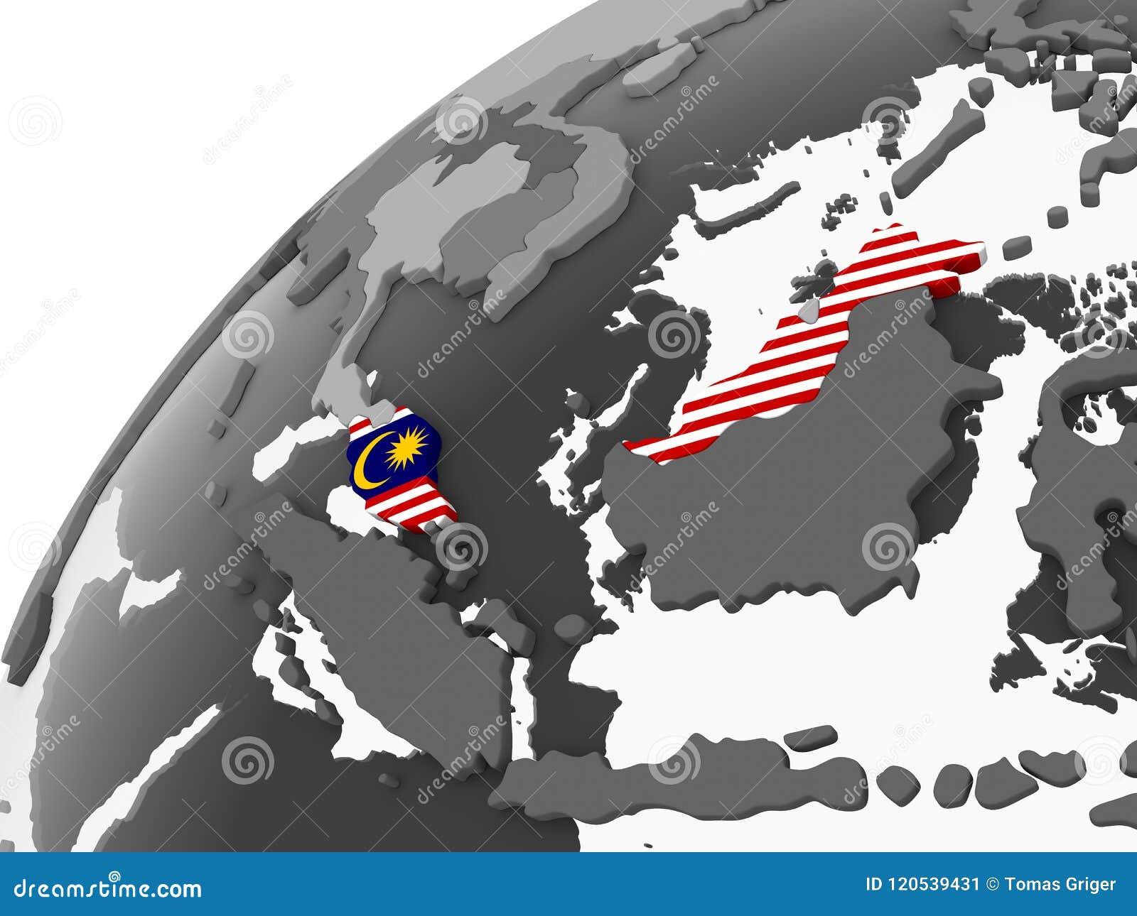 Malaysia med flaggan på jordklotet