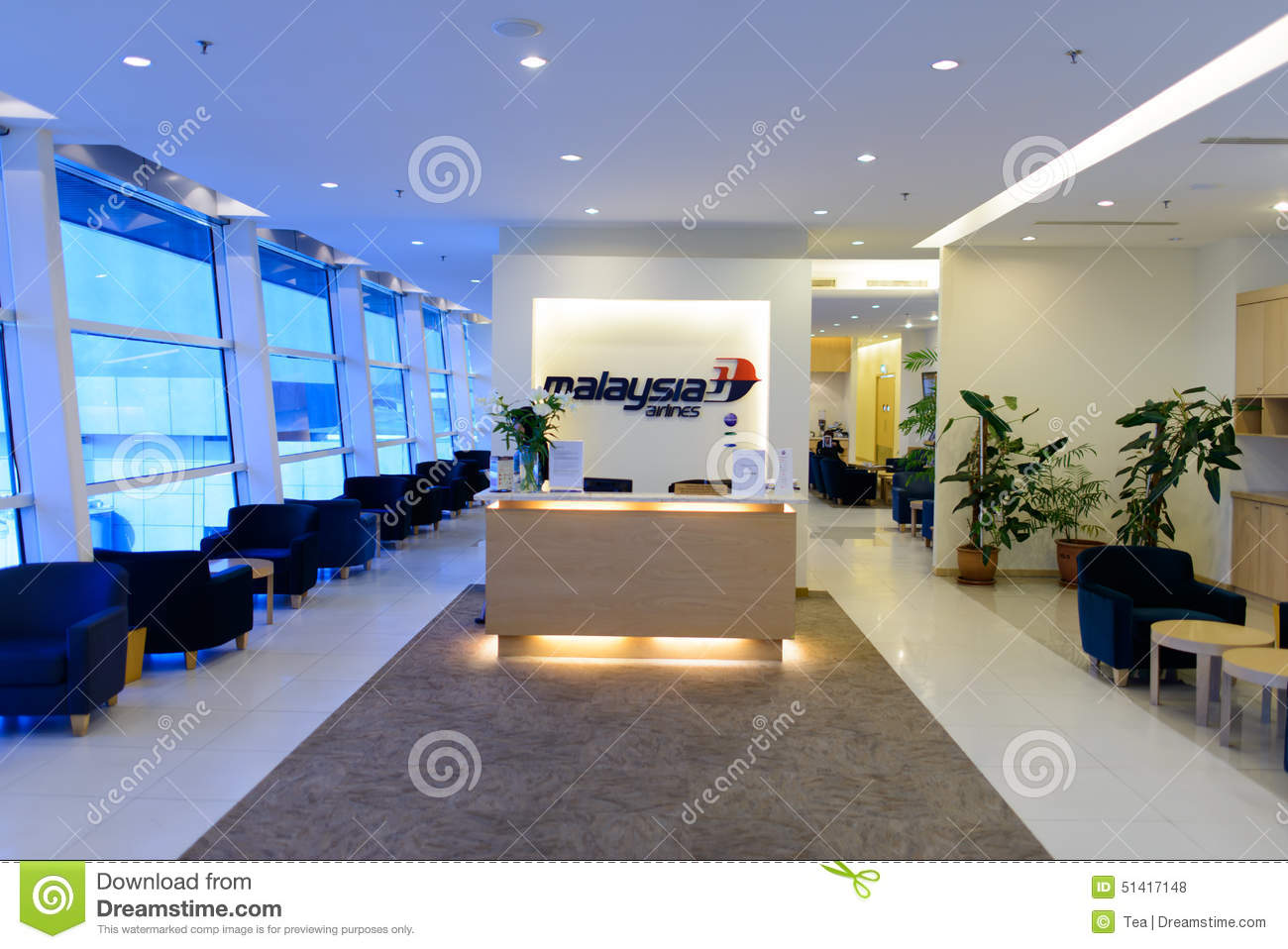 Malaysian Airline Lounge Interior Editorial Stock Photo