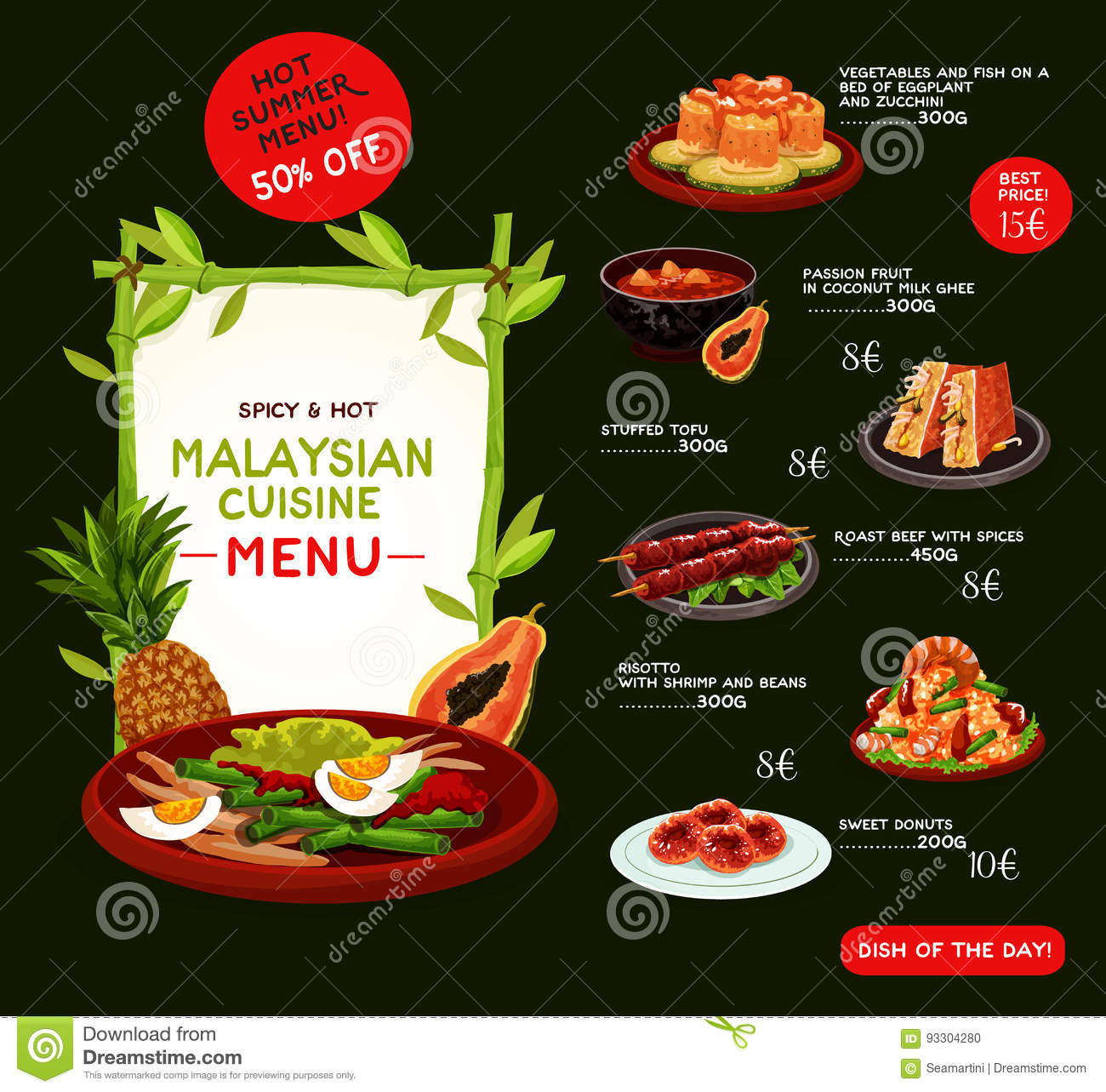 Malaysian cuisine menu template with asian food stock for Asian cuisine menu