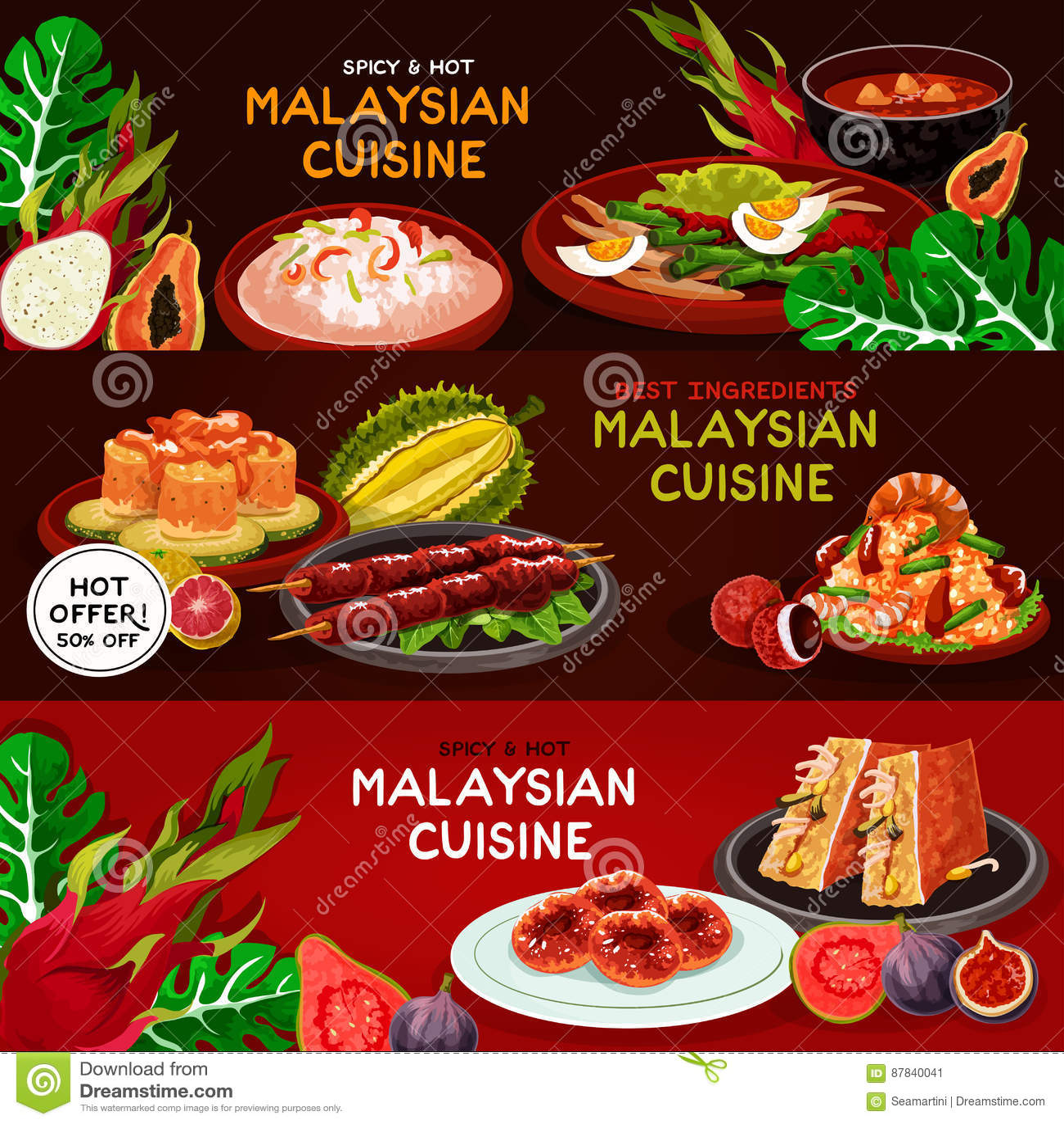 malaysian cuisine restaurant banner set design stock vector