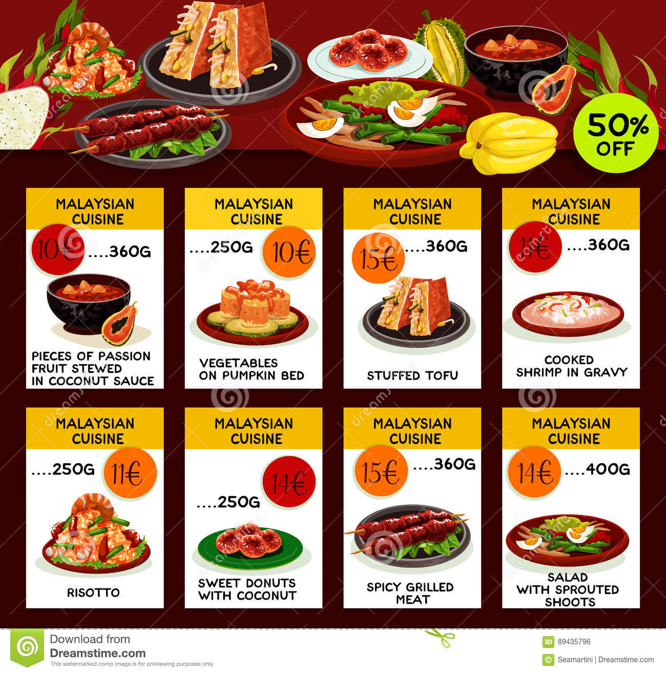 Malaysian cuisine restaurant menu template design stock for Akina japanese cuisine menu