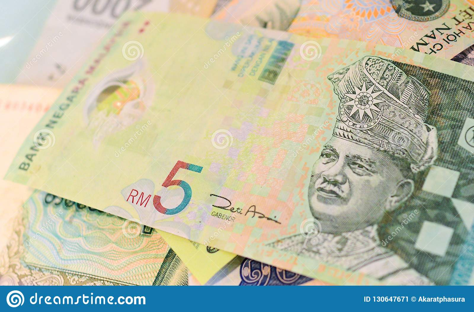Malaysian Ringgit Banknote On Another Southeast-asian Currency Stock