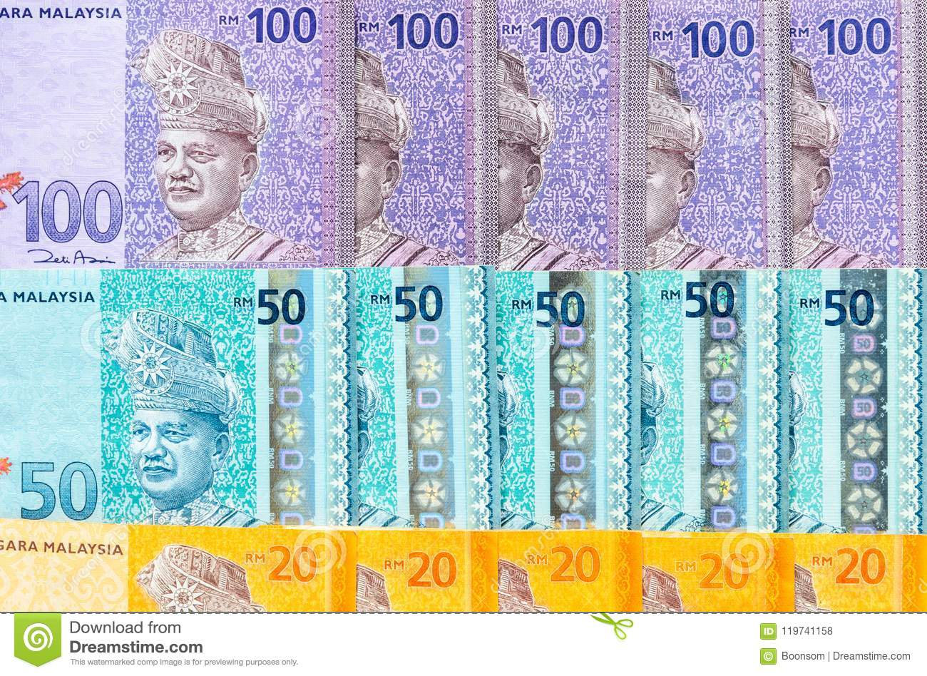 Malaysian Ringgit Banknotes Background  Financial Concept  Stock