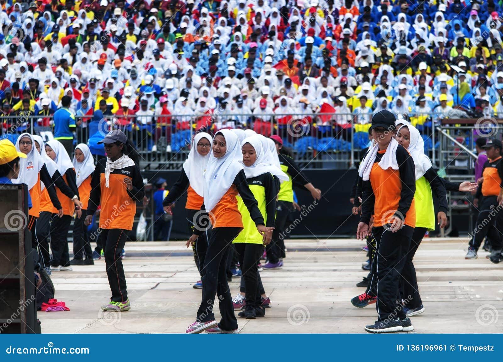 Malaysian students practicing for Hari Merdeka in Malaysia, Kuala Lumpur