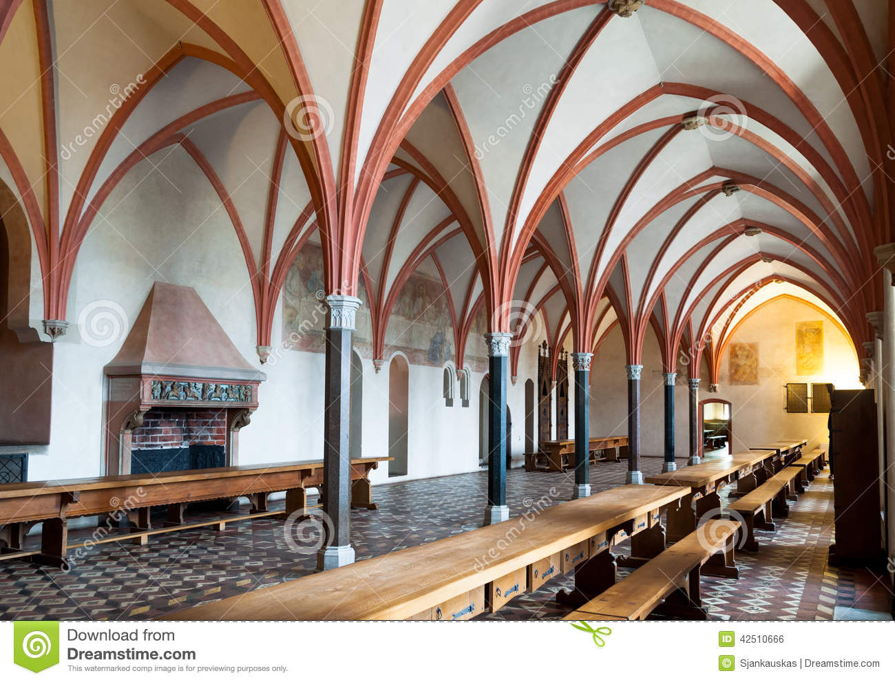 Malbork Castle Dining Hall Interior Stock Photo Image