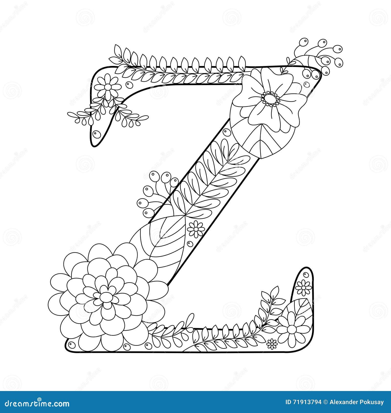 malbuch des buchstaben z für erwachsenvektor vektor