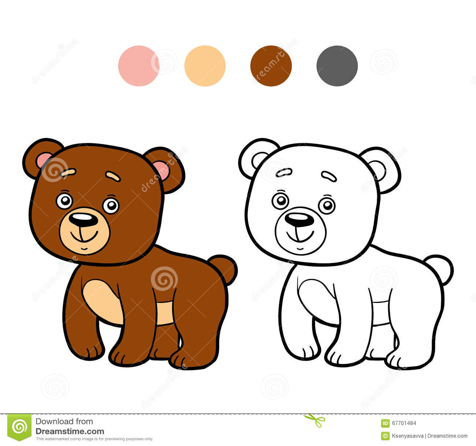 Malbuch, Färbungsseite (Bär) Vektor Abbildung - Illustration von ...