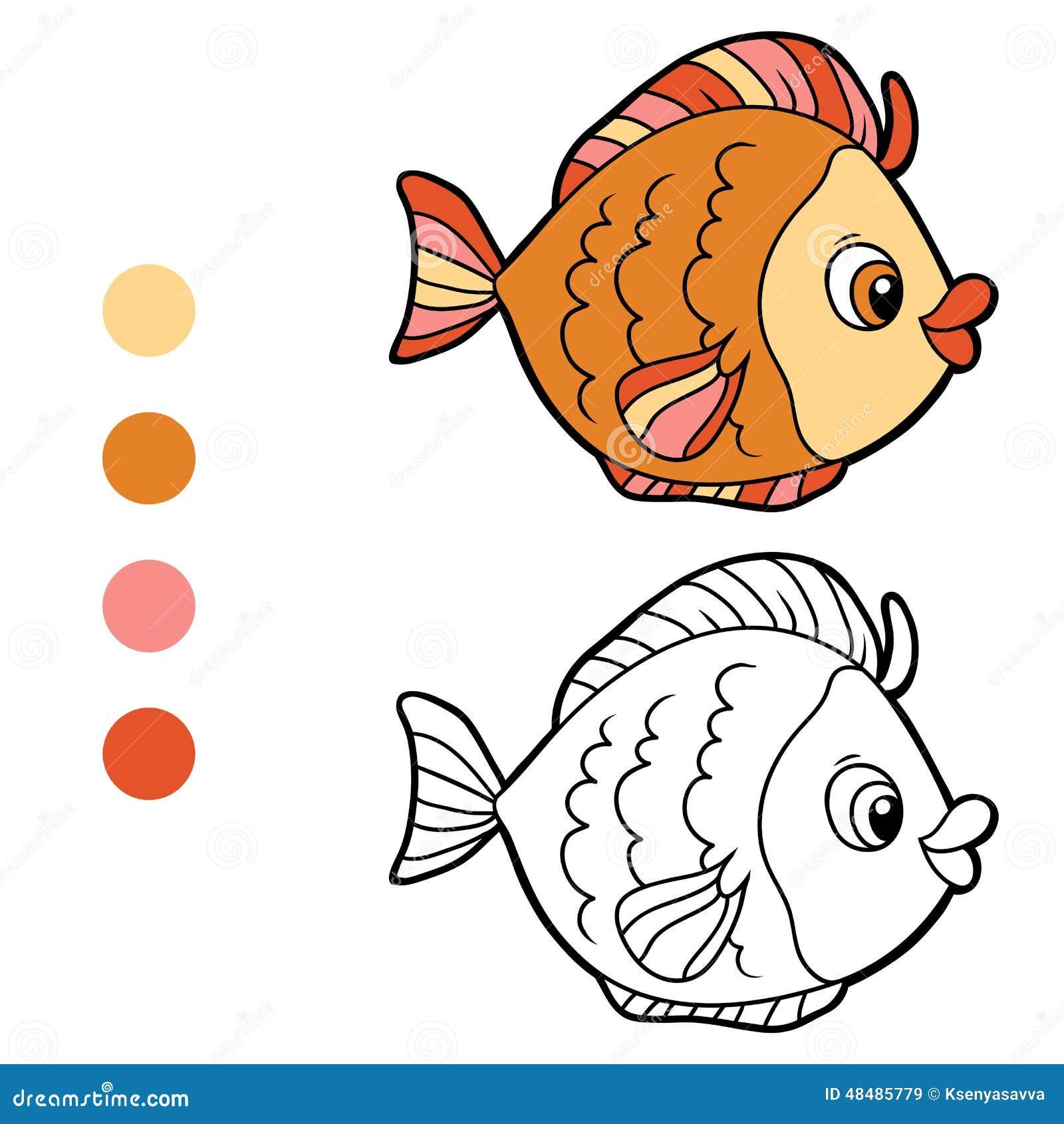 Malbuch f r kinder fische vektor abbildung bild 48485779 for Immagini da colorare di pesci