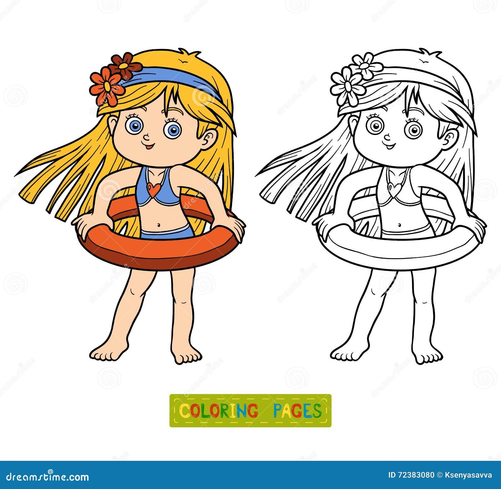 Malbuch Für Kinder Kleines Mädchen Auf Dem Strand Vektor Abbildung ...