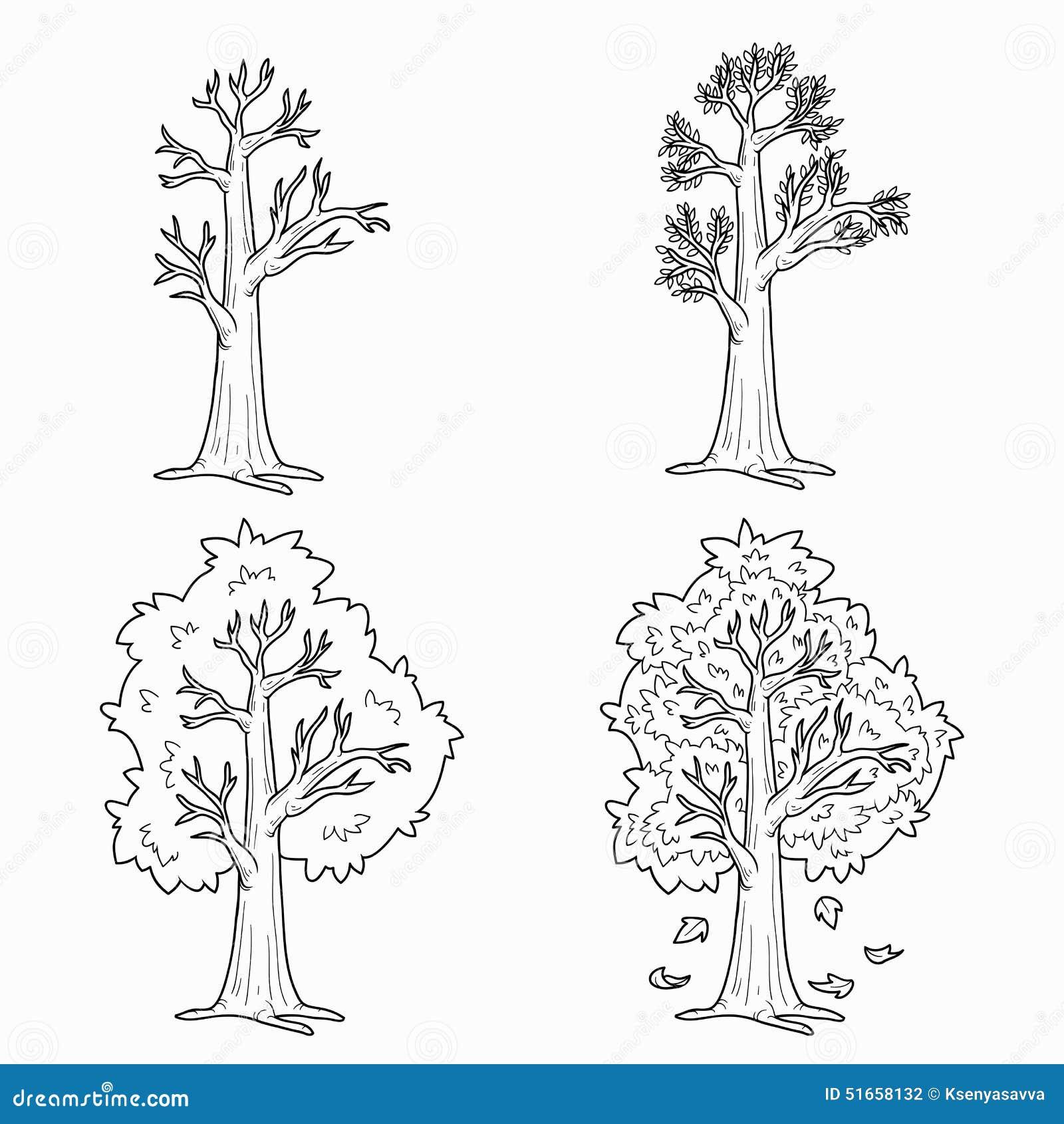 Malbuch vier jahreszeiten vektor abbildung illustration von nderung auslegung 51658132 - Coloriage saisons a imprimer ...