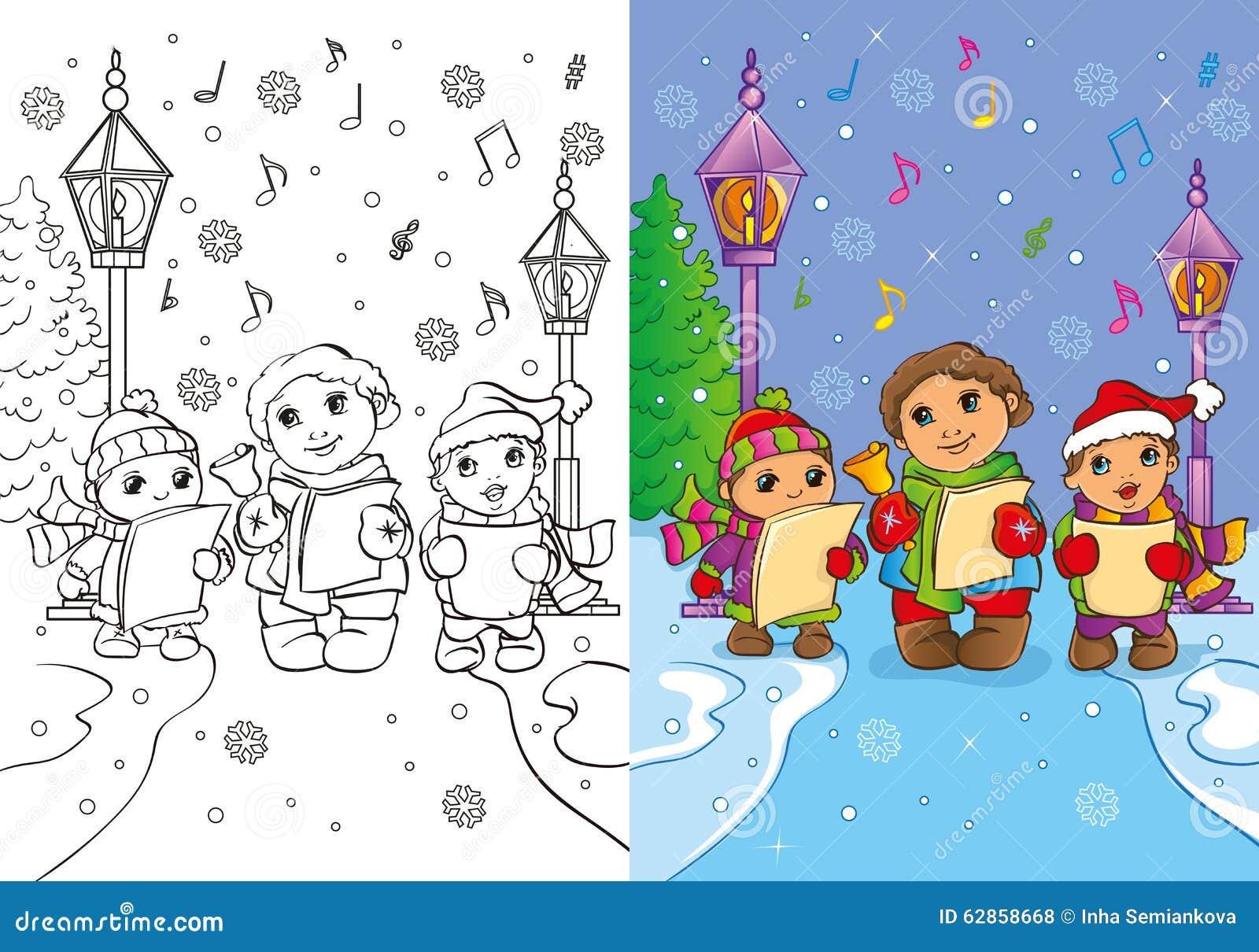 malbuch von kindern singen weihnachtslieder stock abbildung illustration von singt musik