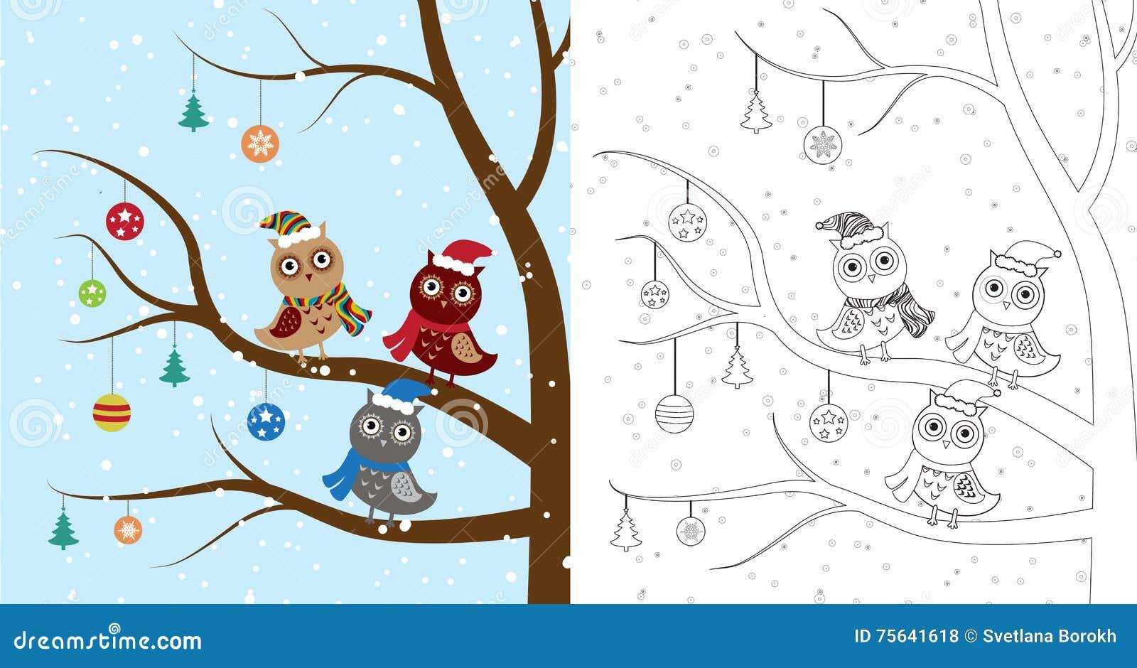 Malbuchseite Pinguin-Weihnachten Skizzen- Und Farbversion Farbton ...