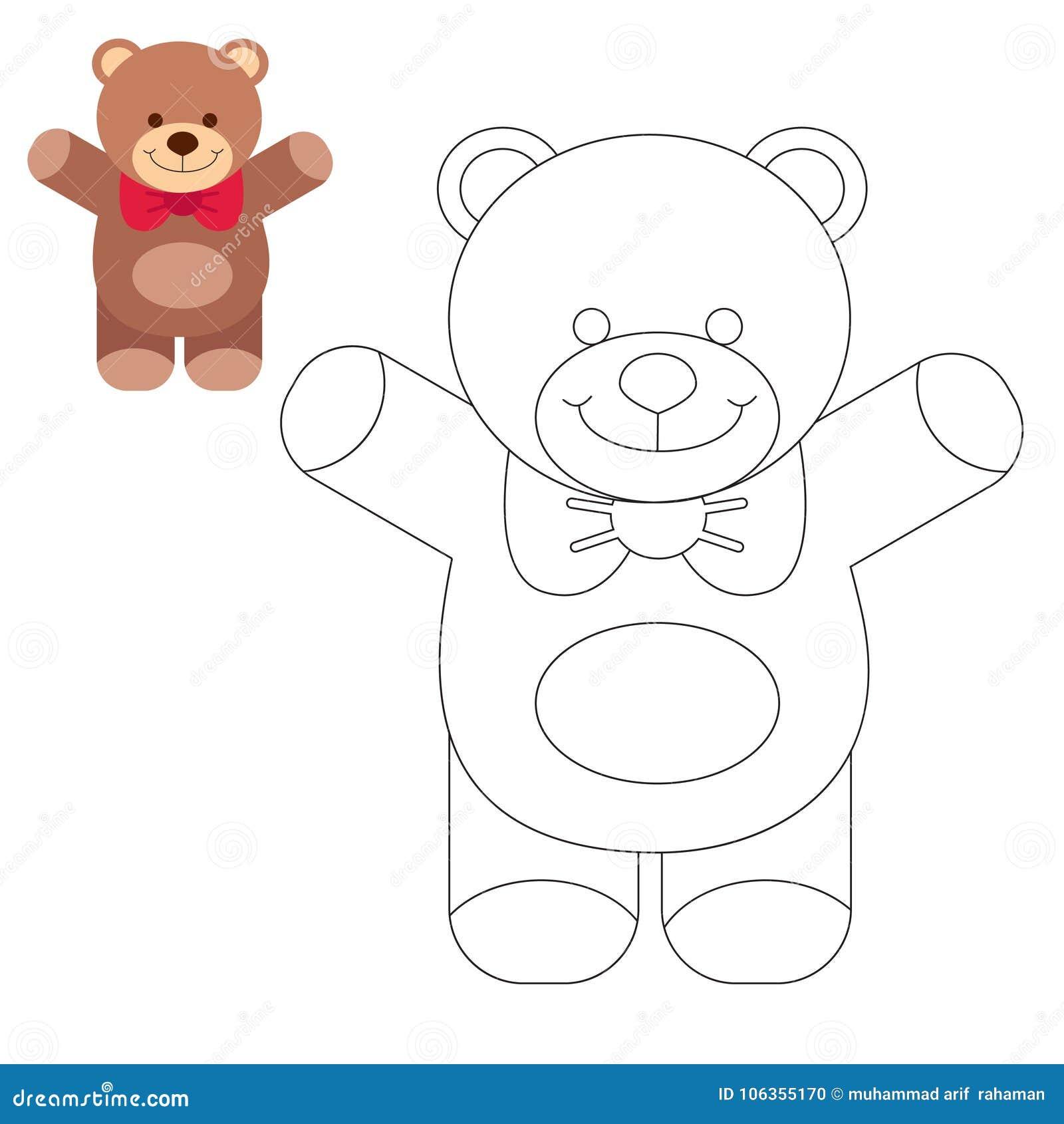 Malbuchtier Kinder, Die Seiten Färben Teddy Bear Vektor Abbildung ...