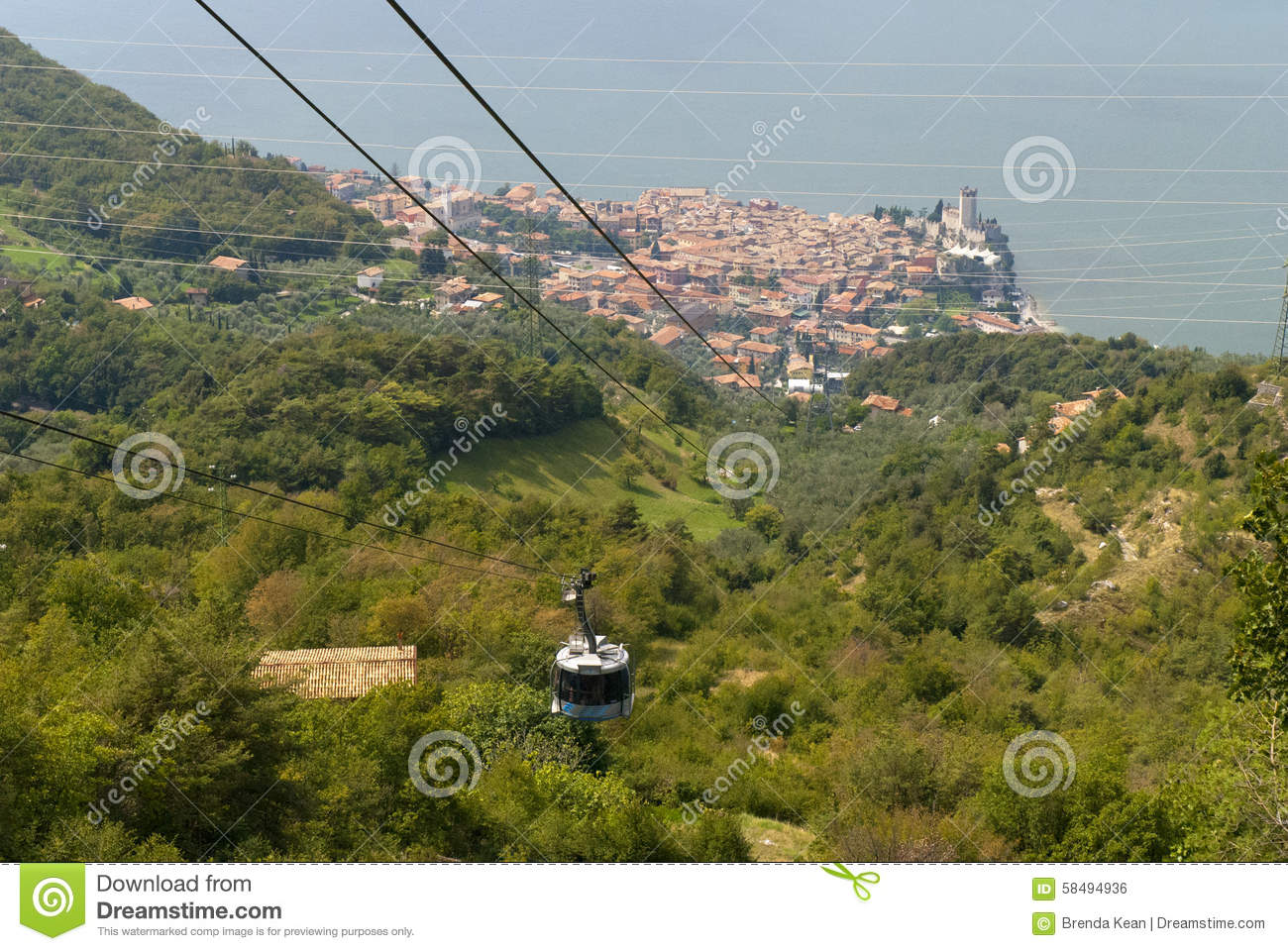 Malcesine From The Top Of Monte Baldo Above Malcesine Castle On