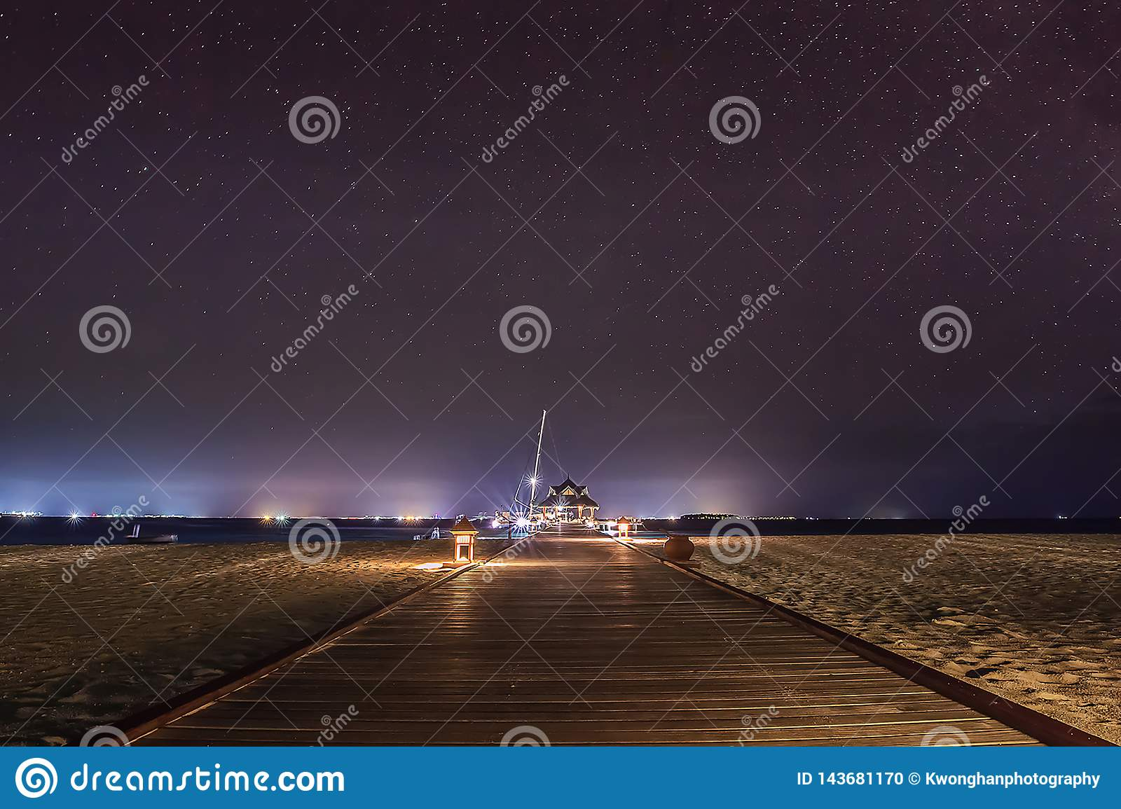 Maldives Beach at Night stock photo  Image of evening