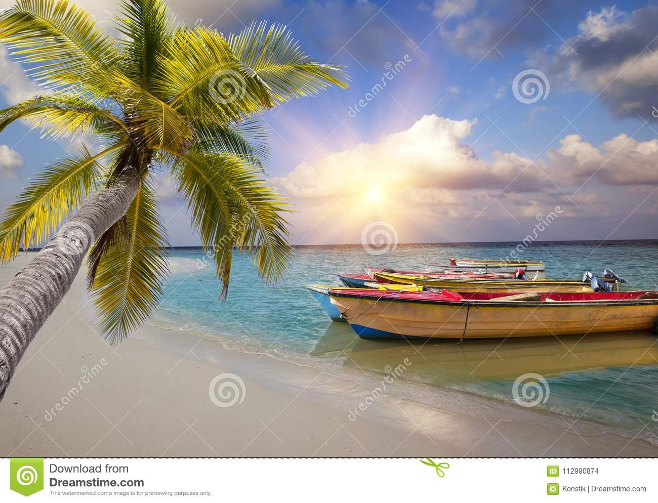 Maldives. Bright wooden boats in the sea and the palm tree has bent over water