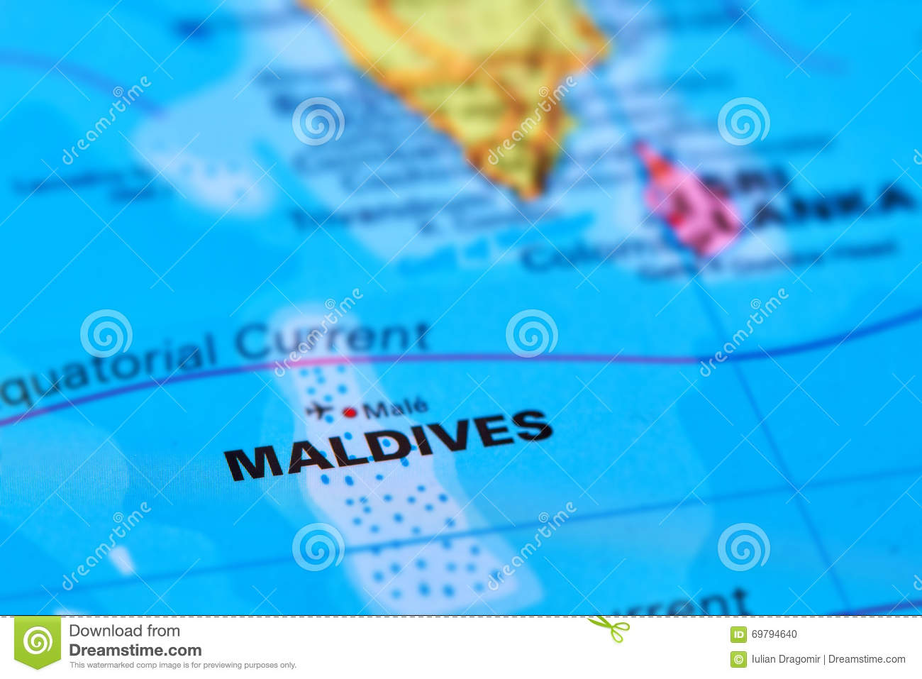 Maldives On Map Of Asia.Maldives Islands On The Map Stock Photo Image Of Indian Country