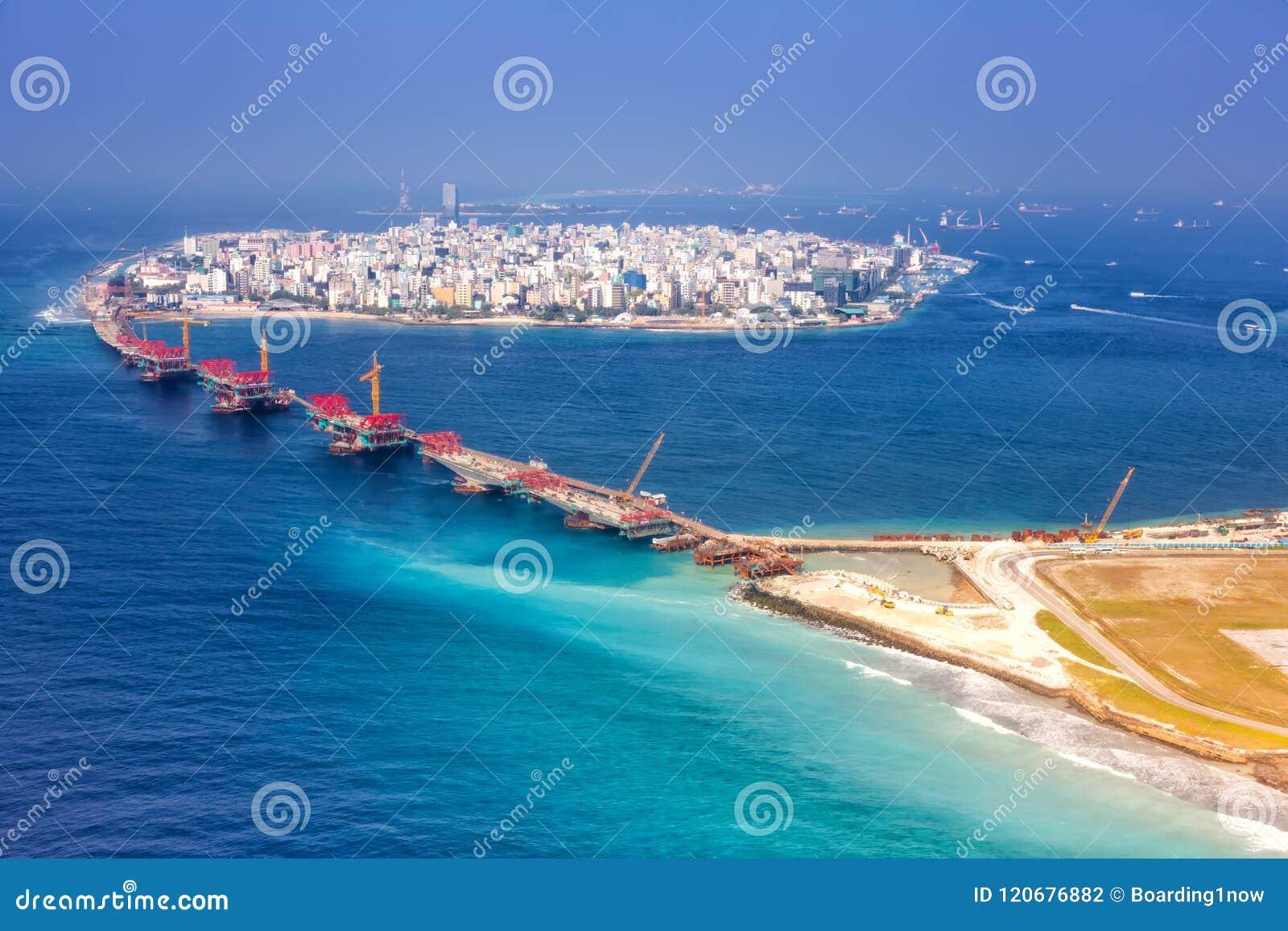 Maldives Male Capital City Island Airport Bridge Aerial