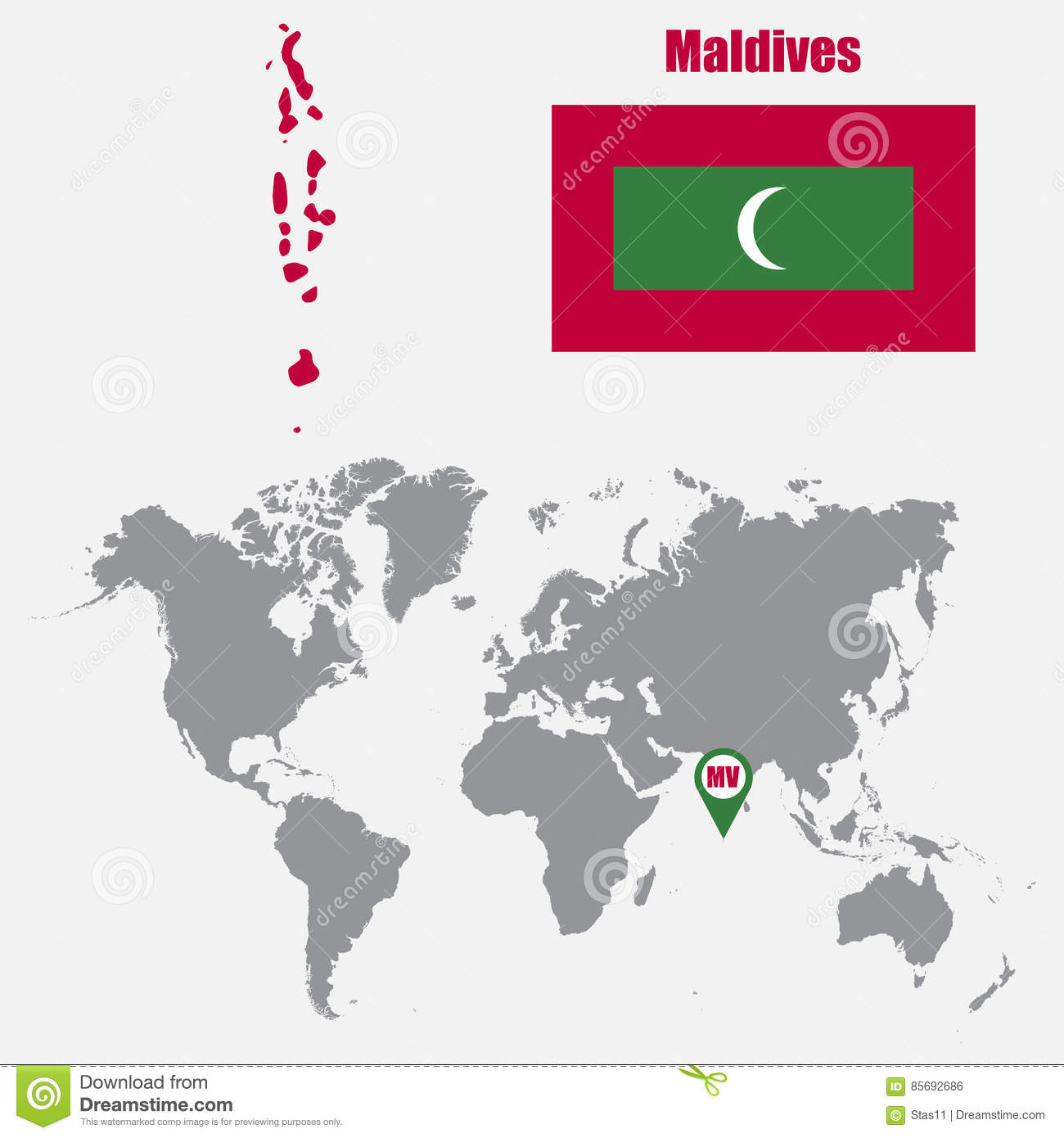 Maldives Map On A World Map With Flag And Map Pointer Vector