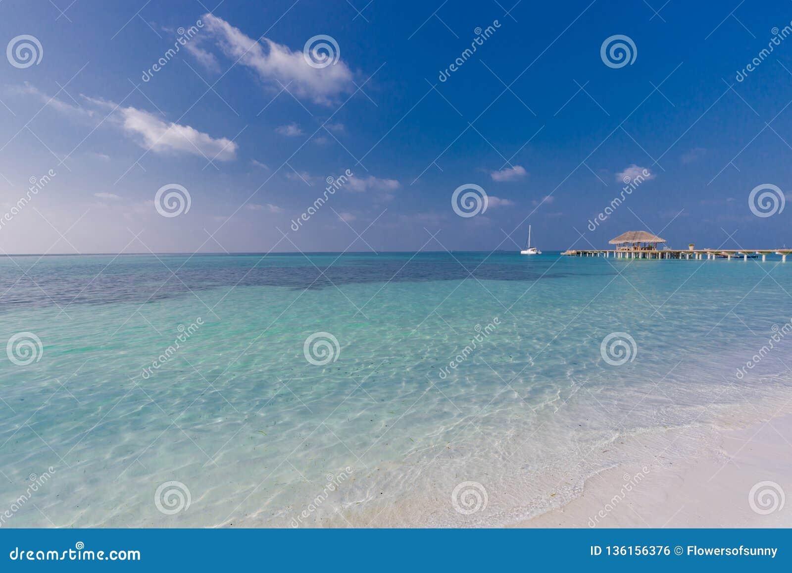 Beautiful Beach Landscape In Maldives Island Calm Blue Sea