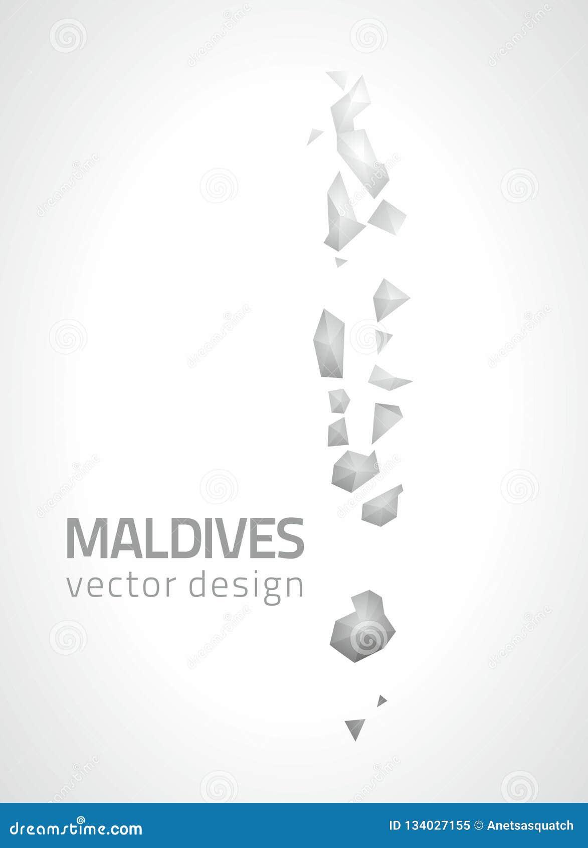 Maldives Polygonal Triangle Grey And Silver Vector Map Stock Vector ...