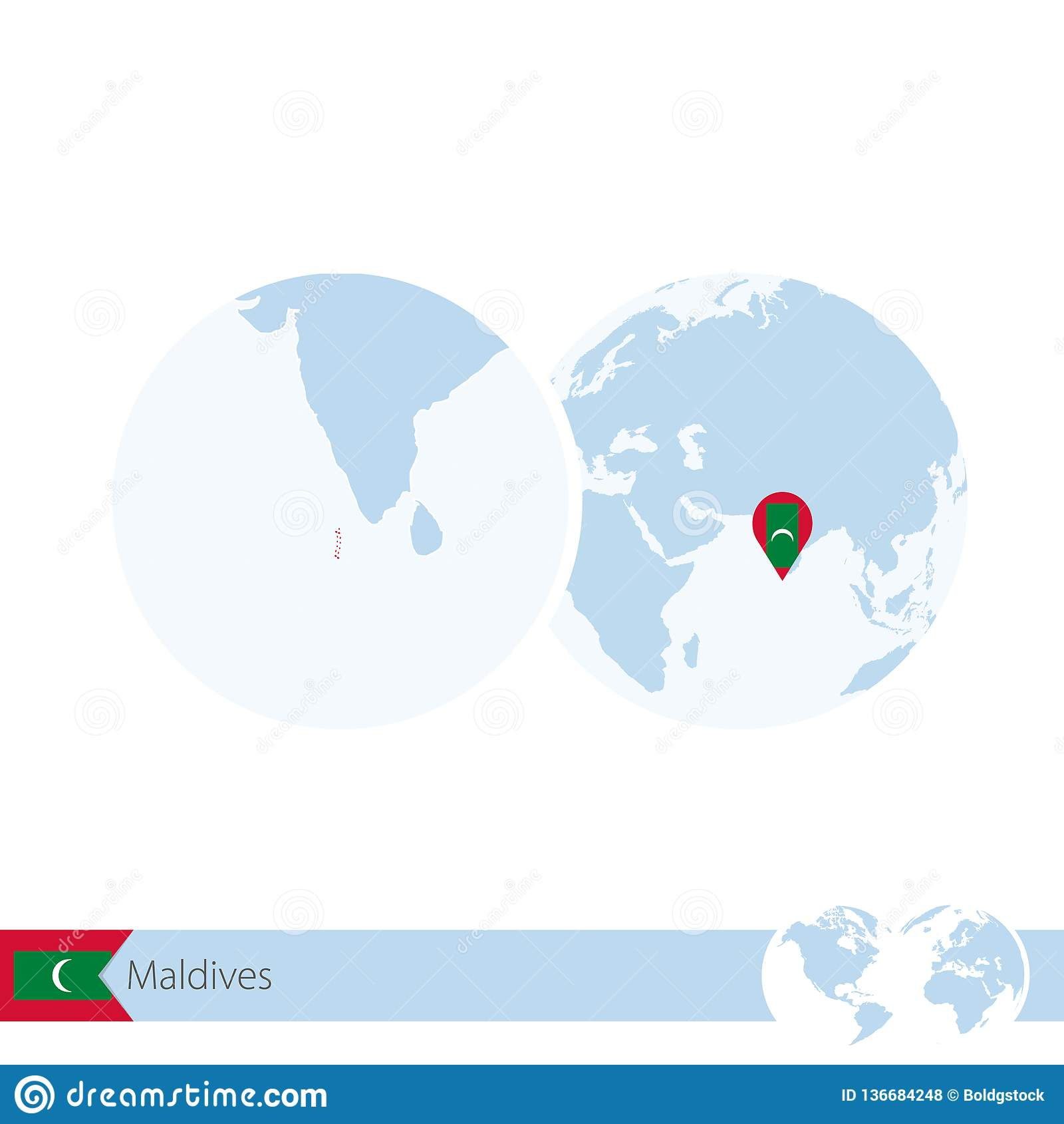 Maldives On World Globe With Flag And Regional Map Of ...