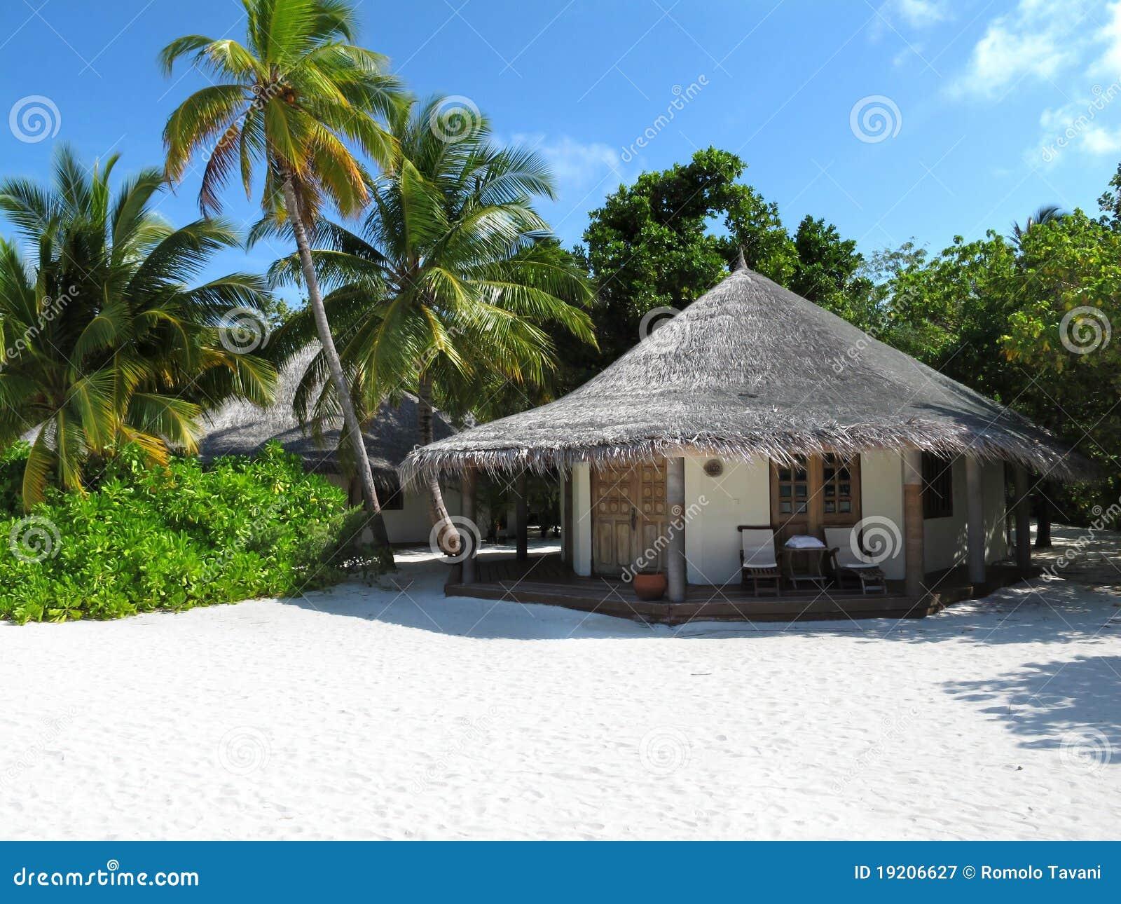 Maldivian Beach Bungalow Royalty Free Stock Photography