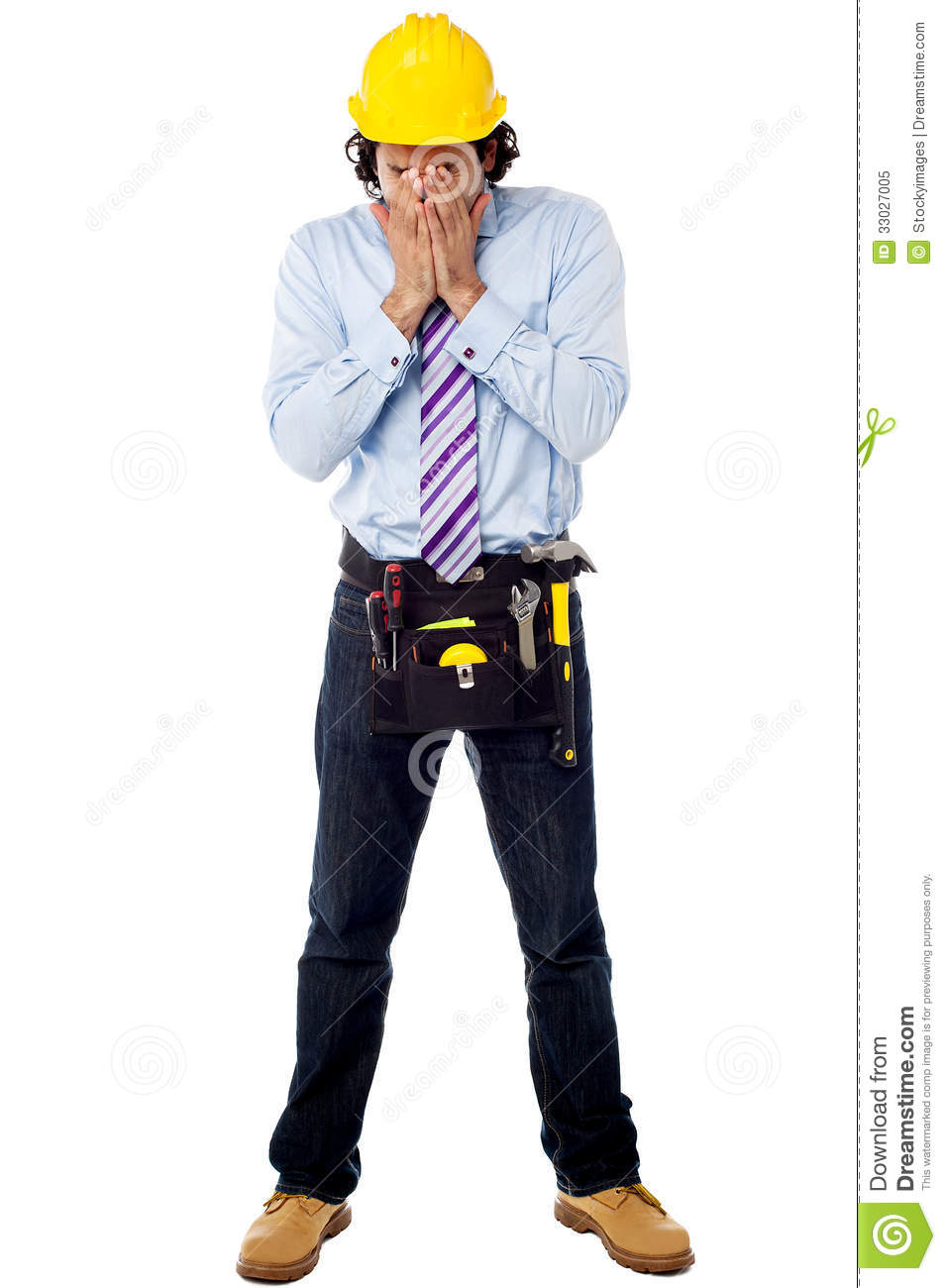 Male Architect In Hard Hat Stock Photo