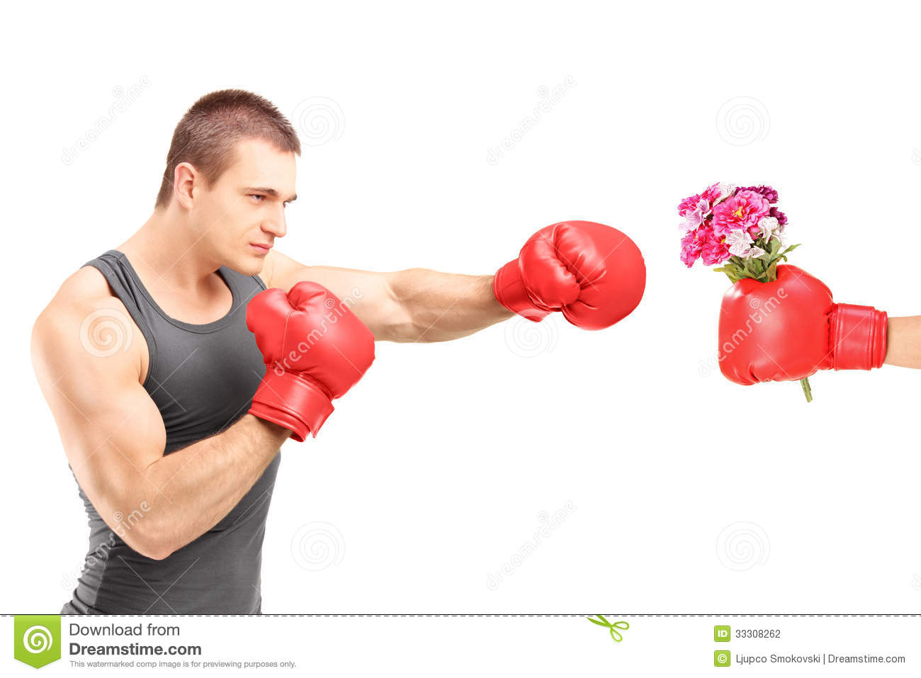 Male Athlete With Boxing Gloves Hitting A Hand With Boxing Glove Stock ...