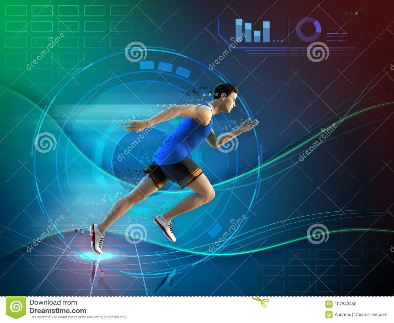 Runner with an high technology background